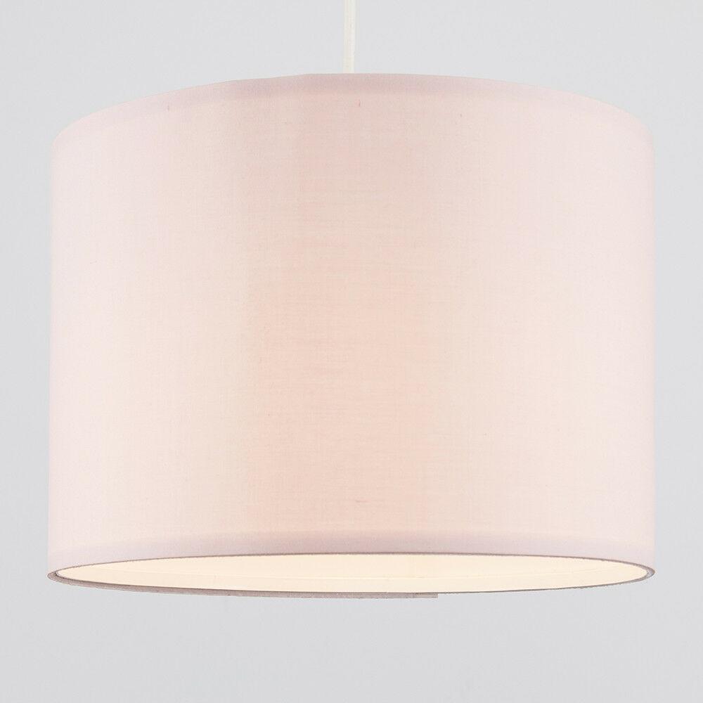 Modern-in-tessuto-cotone-Easy-Fit-Soffitto-Ciondolo-Luce-a-tamburo-Tonalita-Tavolo-Paralume miniatura 89