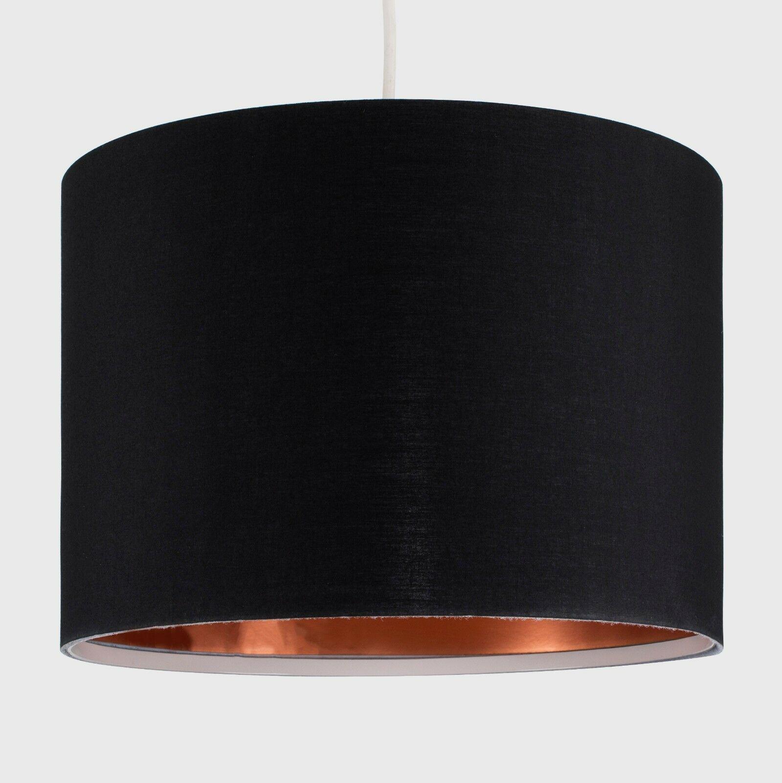 Modern-in-tessuto-cotone-Easy-Fit-Soffitto-Ciondolo-Luce-a-tamburo-Tonalita-Tavolo-Paralume miniatura 33