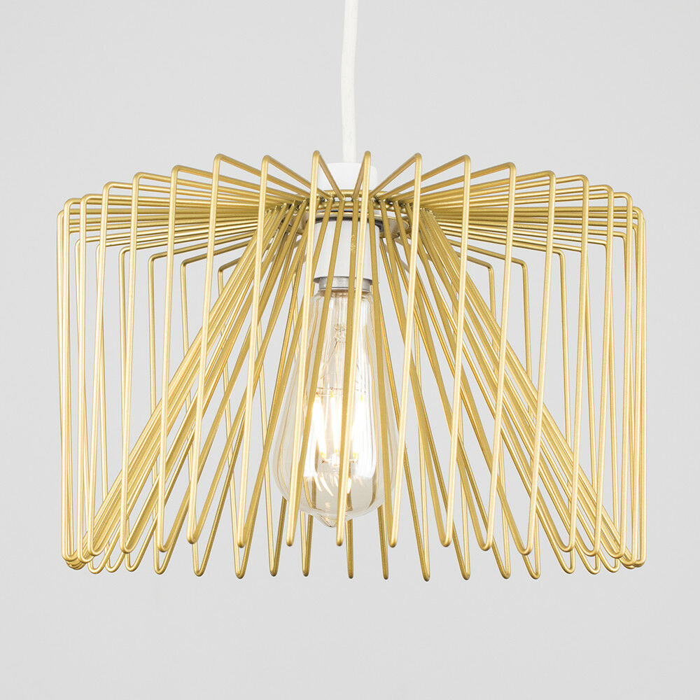 Gold-Ceiling-Pendant-Metal-Wire-Design-Light-Shade-Industrial-Lighting-LED-Bulb thumbnail 8