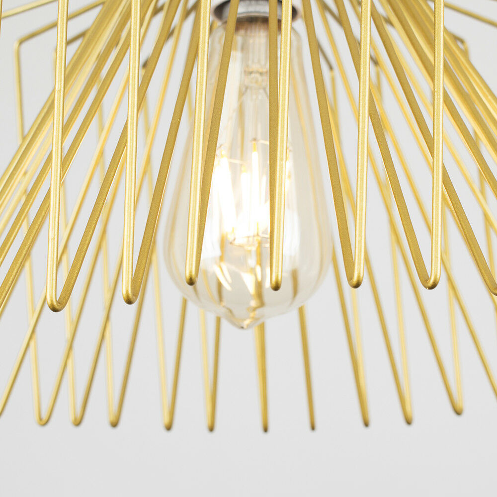 Gold-Ceiling-Pendant-Metal-Wire-Design-Light-Shade-Industrial-Lighting-LED-Bulb thumbnail 14