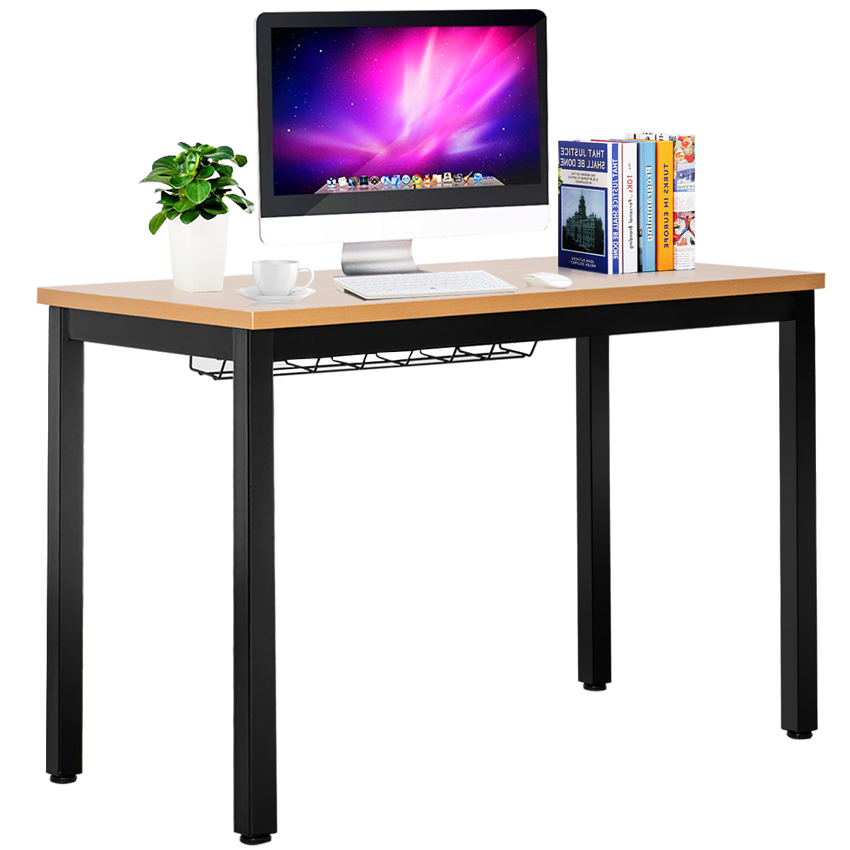Computer Desk Writing Table with Cable Organizer Laptop Table for Home  &Office