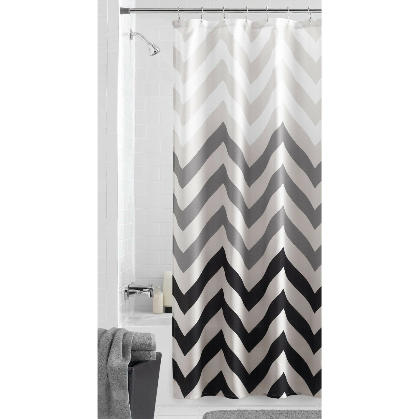 Details About New Mainstays Flux Chevron Fabric Shower Curtain Standard Size 70 In X 72 In