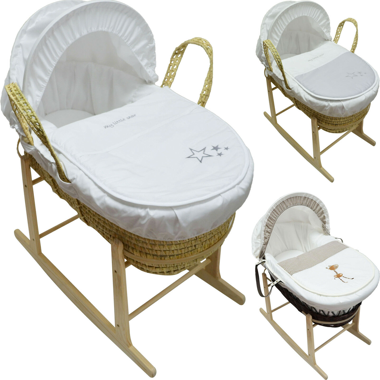 Baby Moses Basket with Mattress, Cover, Quilt, Hood ...