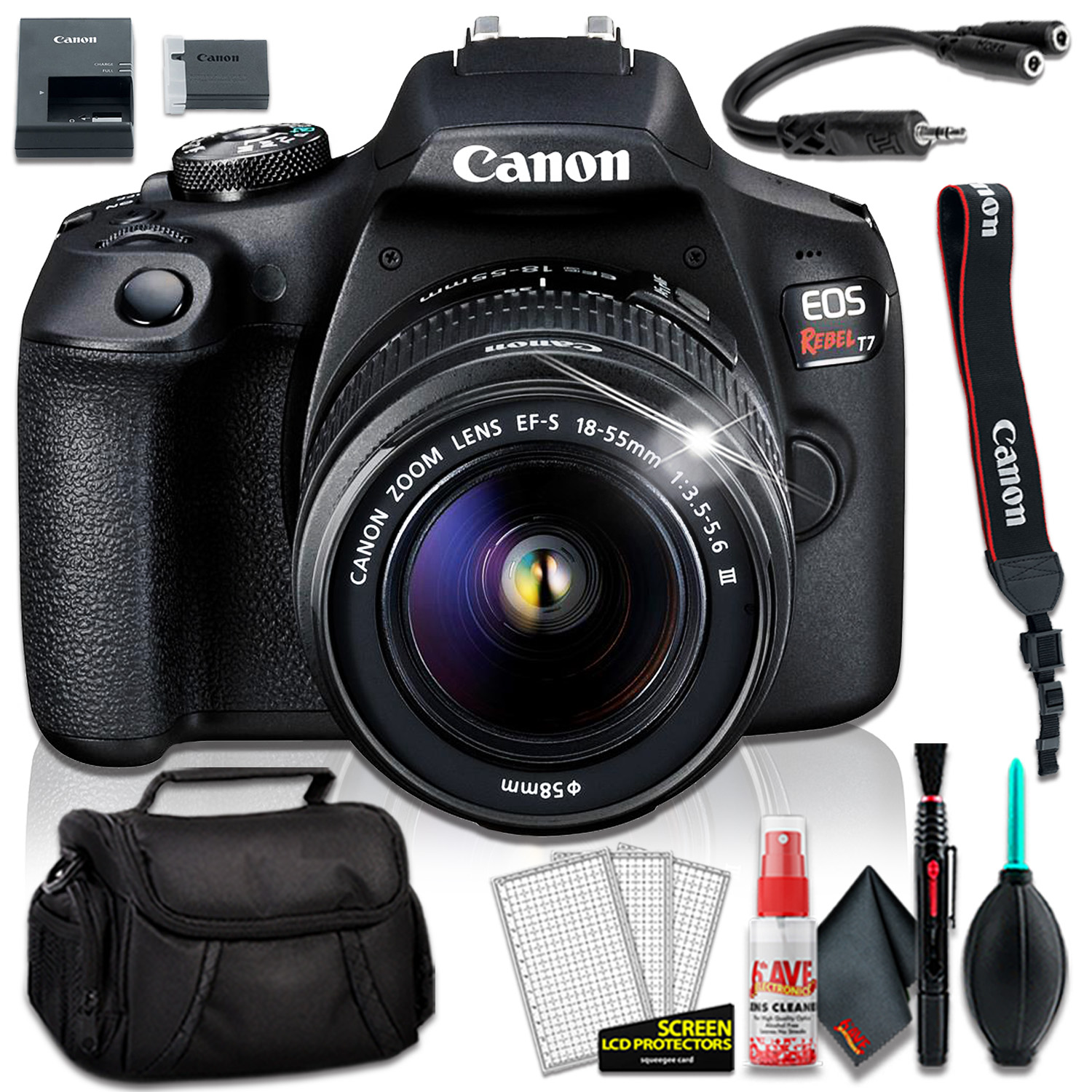 Details About Canon Eos Rebel T7 Dslr Camera W 18 55mm Iii Lens Deluxe Bundle 01