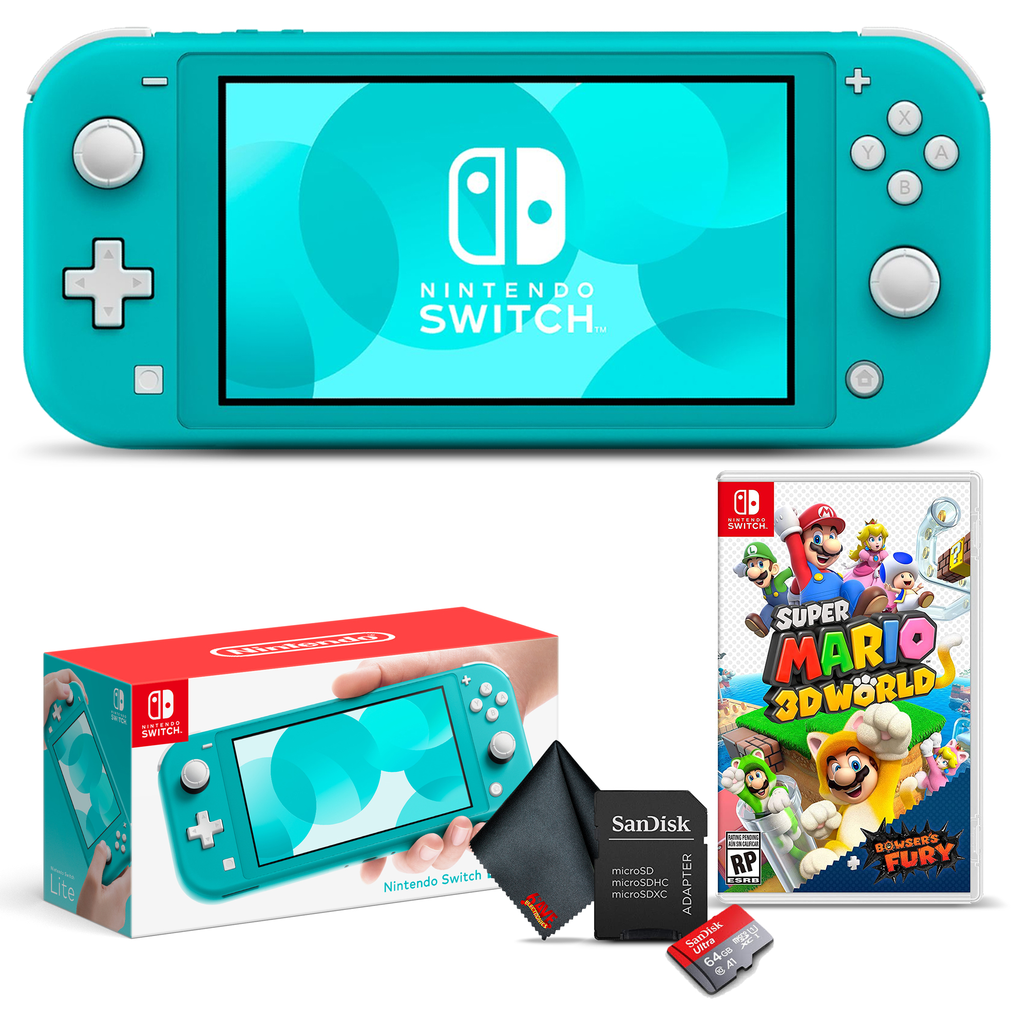 miniature 20 - Nintendo Switch Lite Gaming Console Bundle with Super Mario 3D World + Bowser's