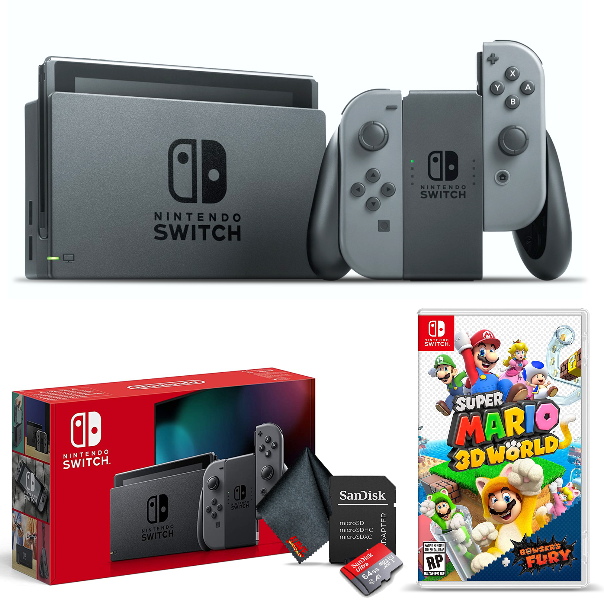 miniature 3 - Nintendo Switch Gaming Console Bundle with Super Mario 3D World + Bowser's Fury