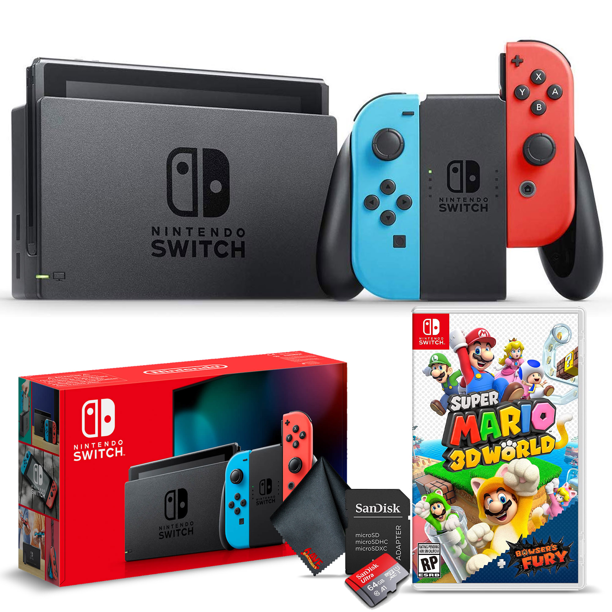 miniature 21 - Nintendo Switch Gaming Console Bundle with Super Mario 3D World + Bowser's Fury