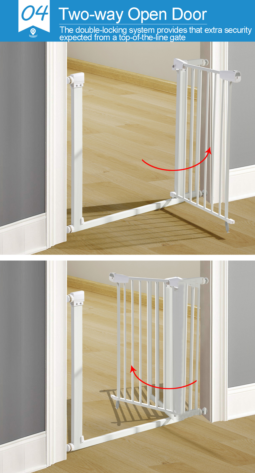 76cm-Tall-Baby-Kids-Pet-Safety-Security-Gate-Wide-Adjustable-Stair-Barrier-Door thumbnail 18