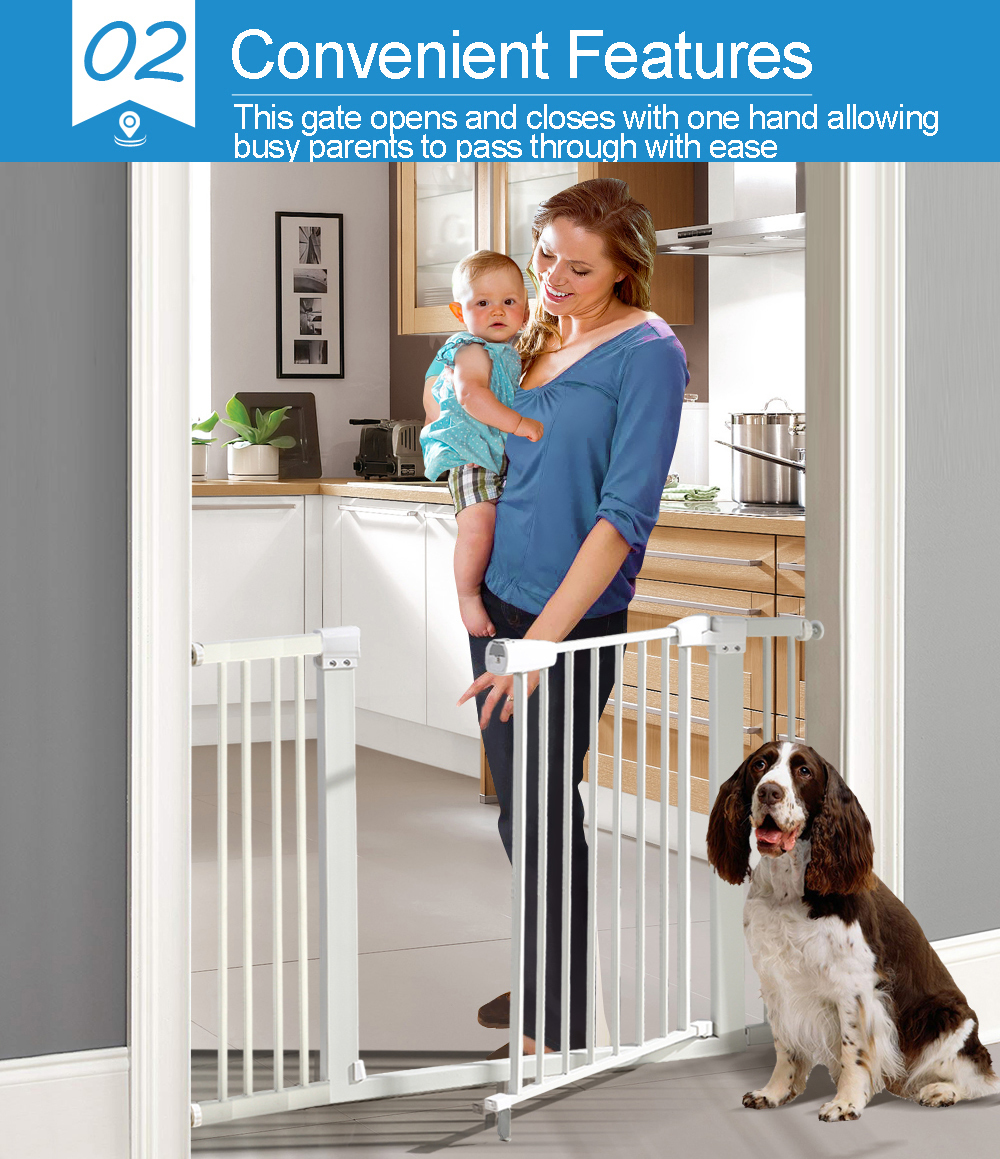 76cm-Tall-Baby-Kids-Pet-Safety-Security-Gate-Wide-Adjustable-Stair-Barrier-Door thumbnail 16