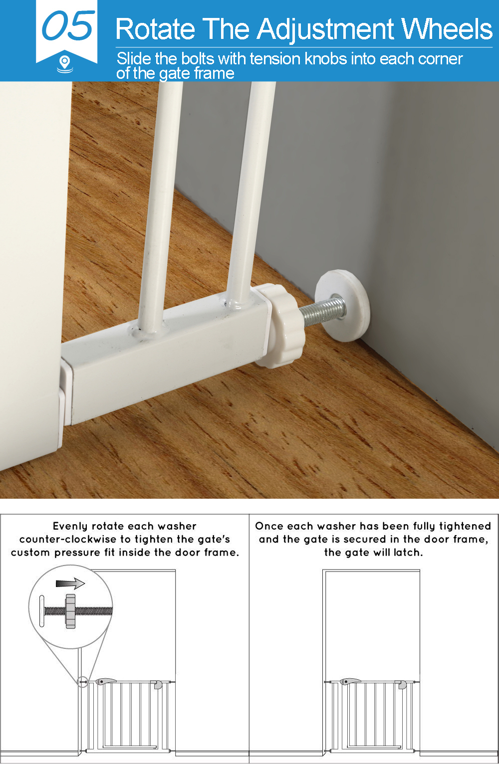 76cm-Tall-Baby-Kids-Pet-Safety-Security-Gate-Wide-Adjustable-Stair-Barrier-Door thumbnail 30