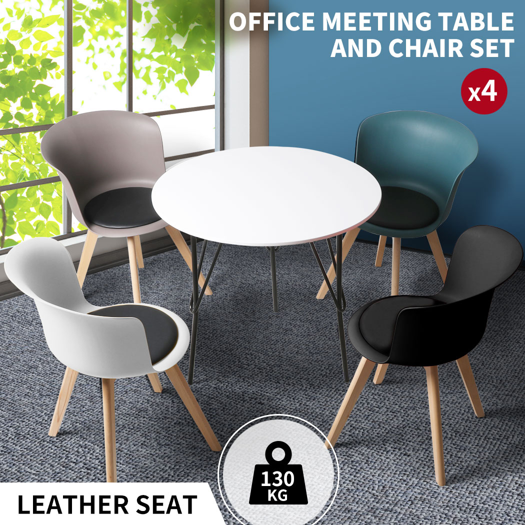 thumbnail 130 - Dining Table Chairs Set Round Café Kitchen Office Meeting Wooden Leg Modern Seat