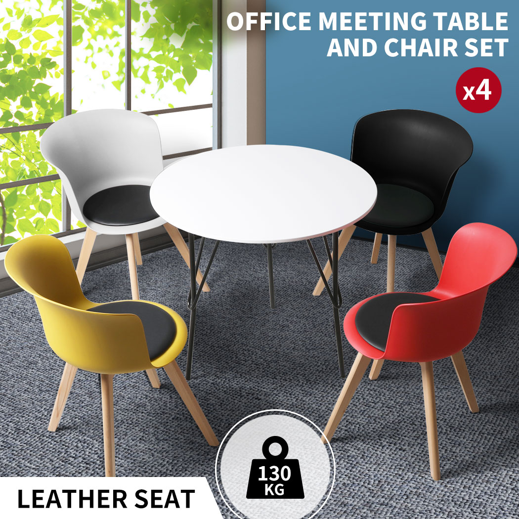 thumbnail 142 - Dining Table Chairs Set Round Café Kitchen Office Meeting Wooden Leg Modern Seat