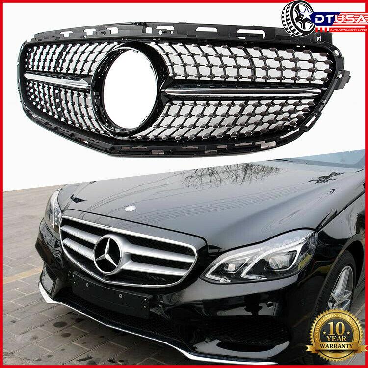 New Compatible For Mercedes Benz W212 E Class E200 E250 E350 E400 E500 E550 2014-2016 2015 Diamond Star Style Front Upper Bumper Hood Grille Grill