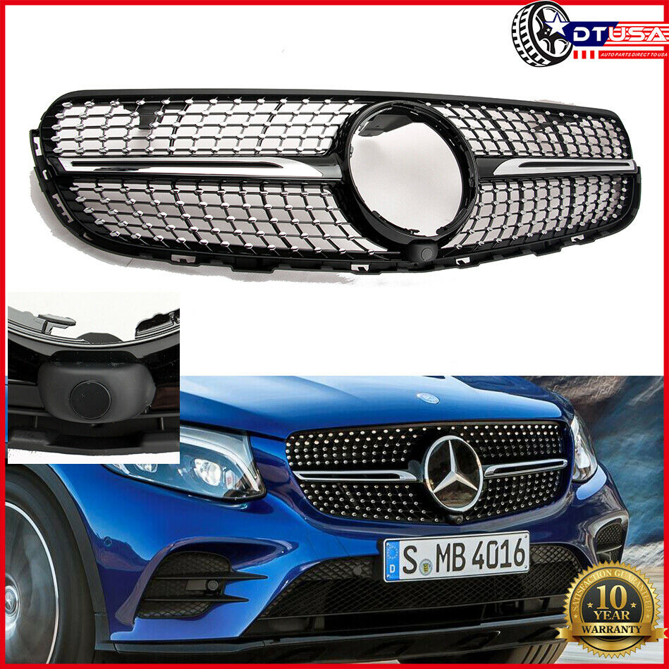 For Mercedes Benz Glc Class Coupe Glc300 Glc250 Spoiler: +CAMERA Diamond Gloss Black Grill Grille For MERCEDES GLC