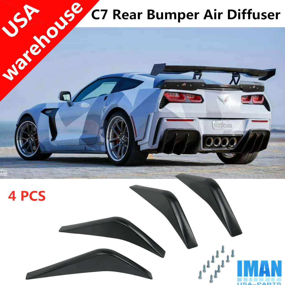EOS For 14-Up Corvette C7 Painted Black Rear Bumper Air Diffuser Fin Body Kit