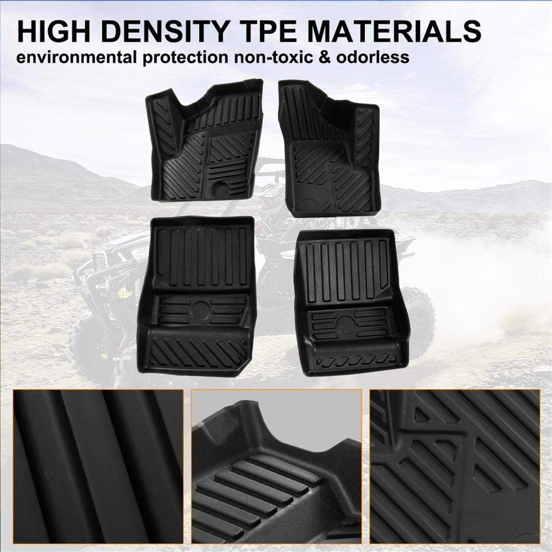 RZR Floor Mats Guards for 2014 to 2018 Polaris RZR XP 1000 900 S//XC Tubo Front Seat Black Mat Liner
