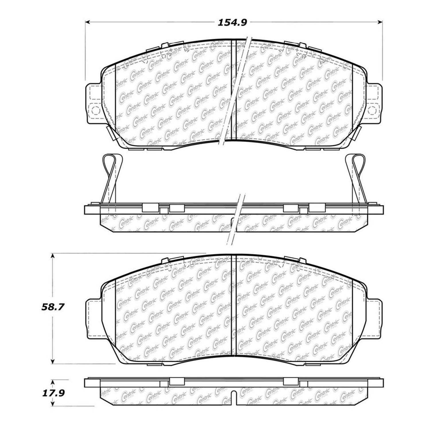 Centric Parts NEW Brake Pads Front Rear For 2010-2012