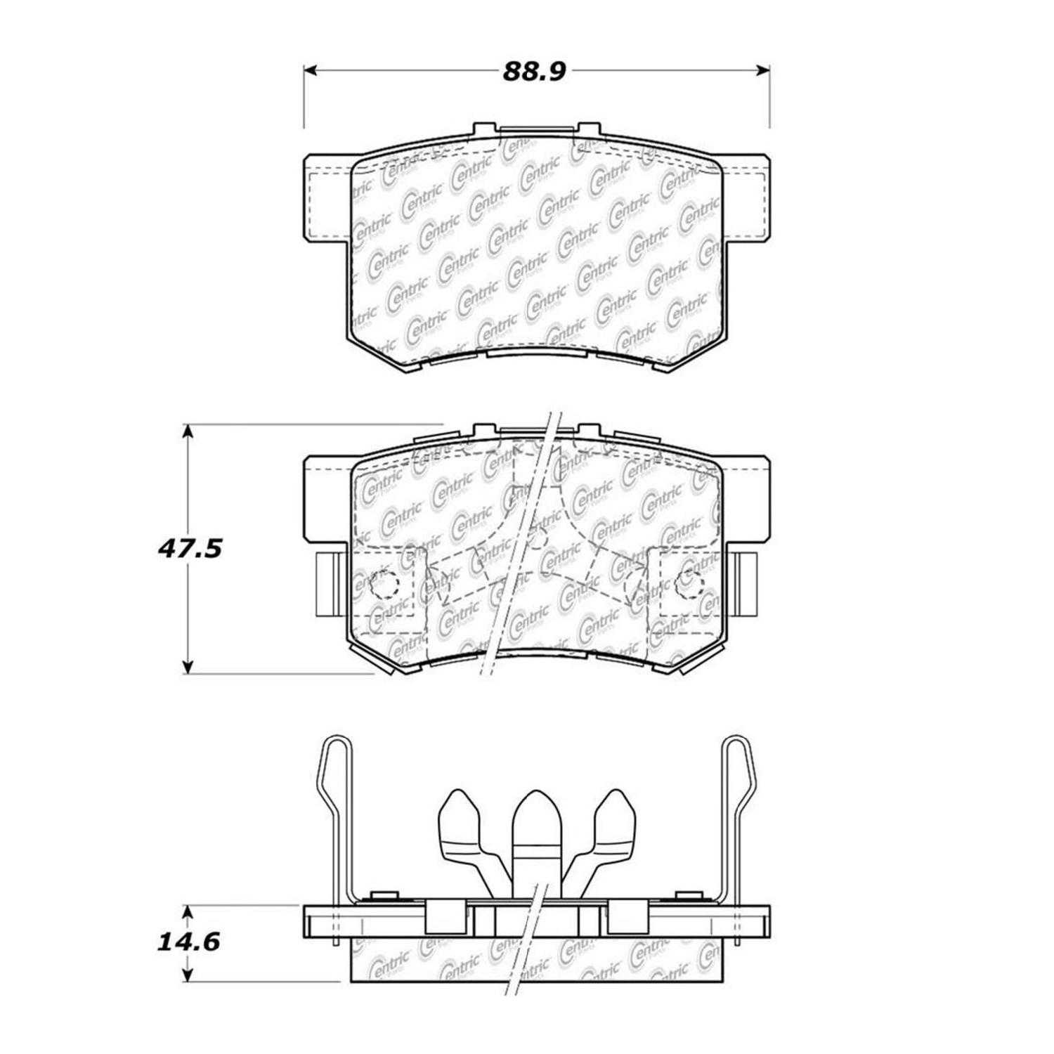 Centric Parts Brake Pads Front Rear For 2010-2011 Honda