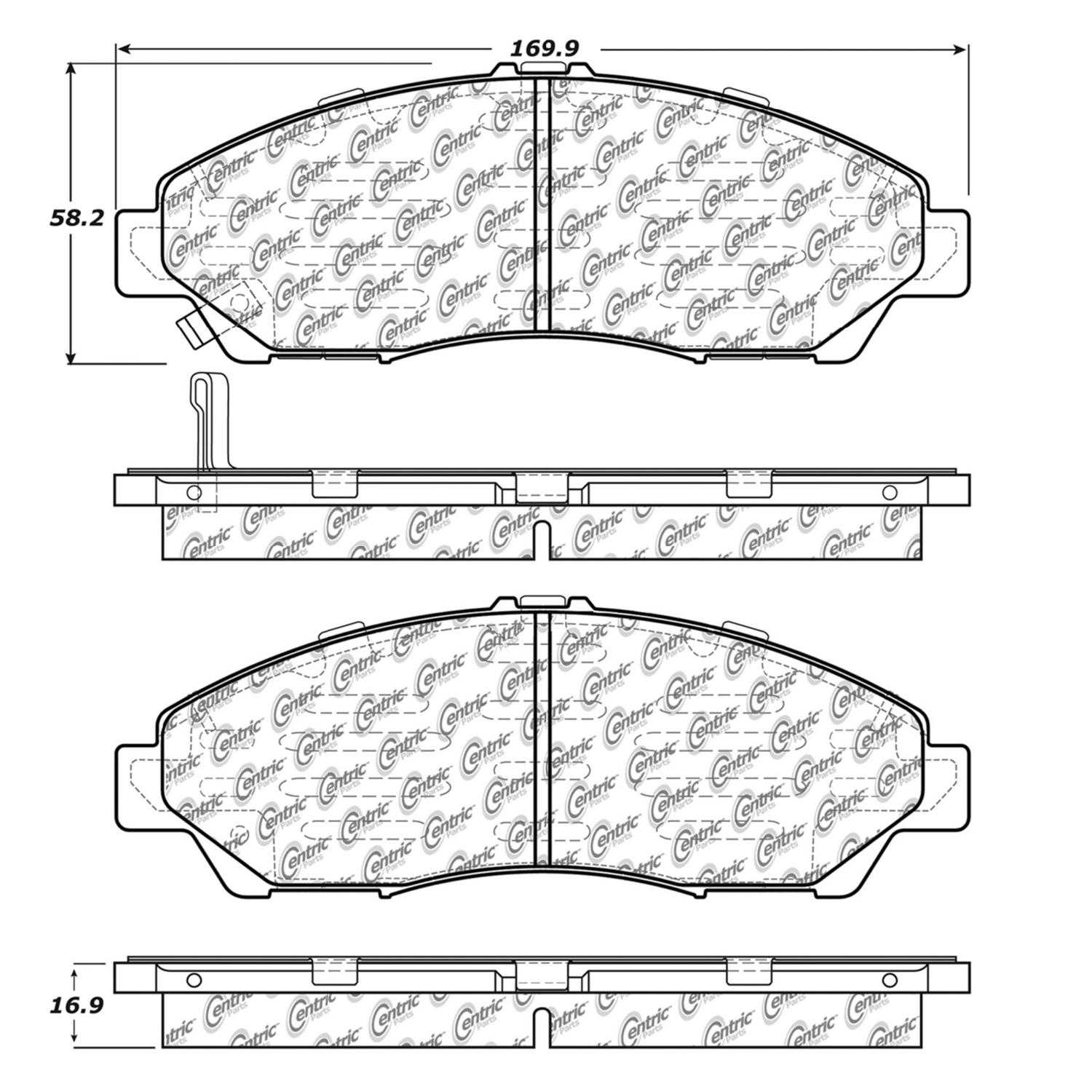 Centric Parts Brake Pads Front Rear For 2009-2011 Honda