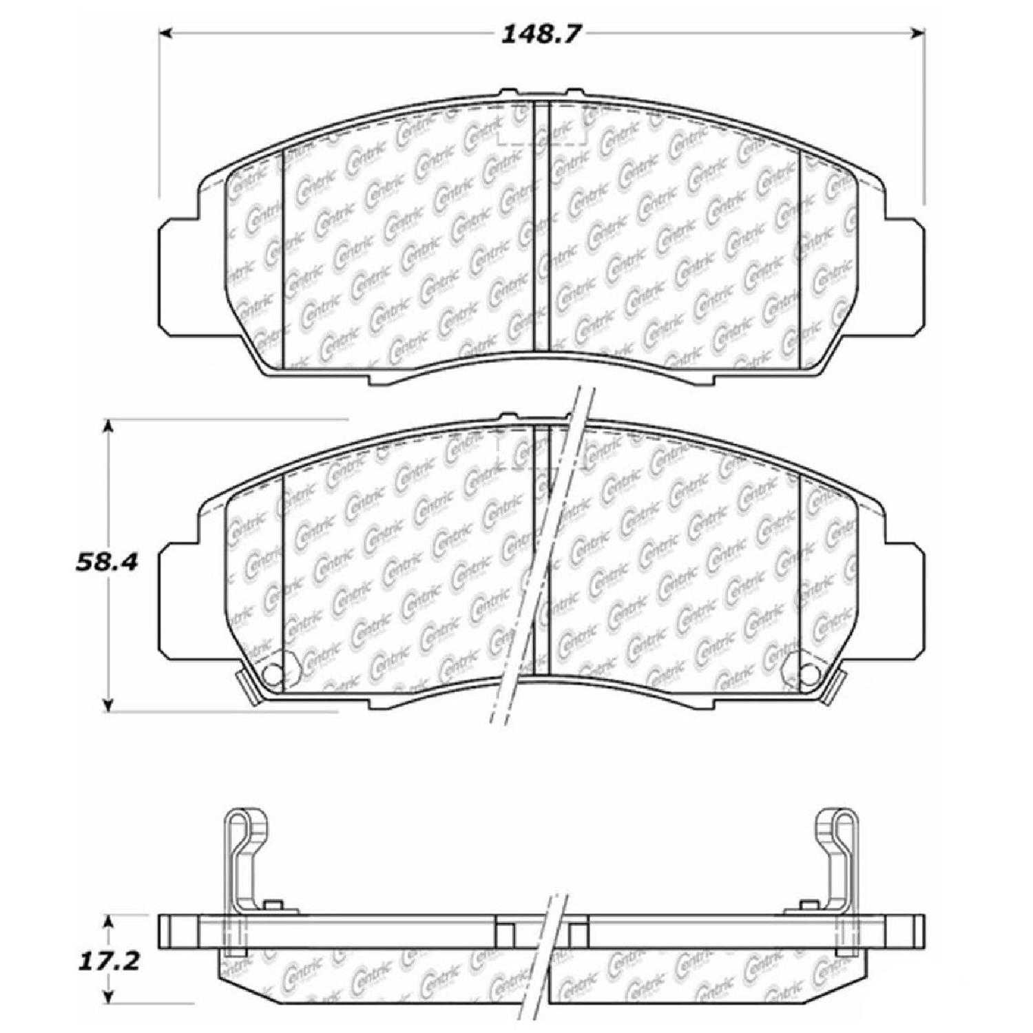 For Centric Parts Brake Pads Front Rear 2004-2008 Acura