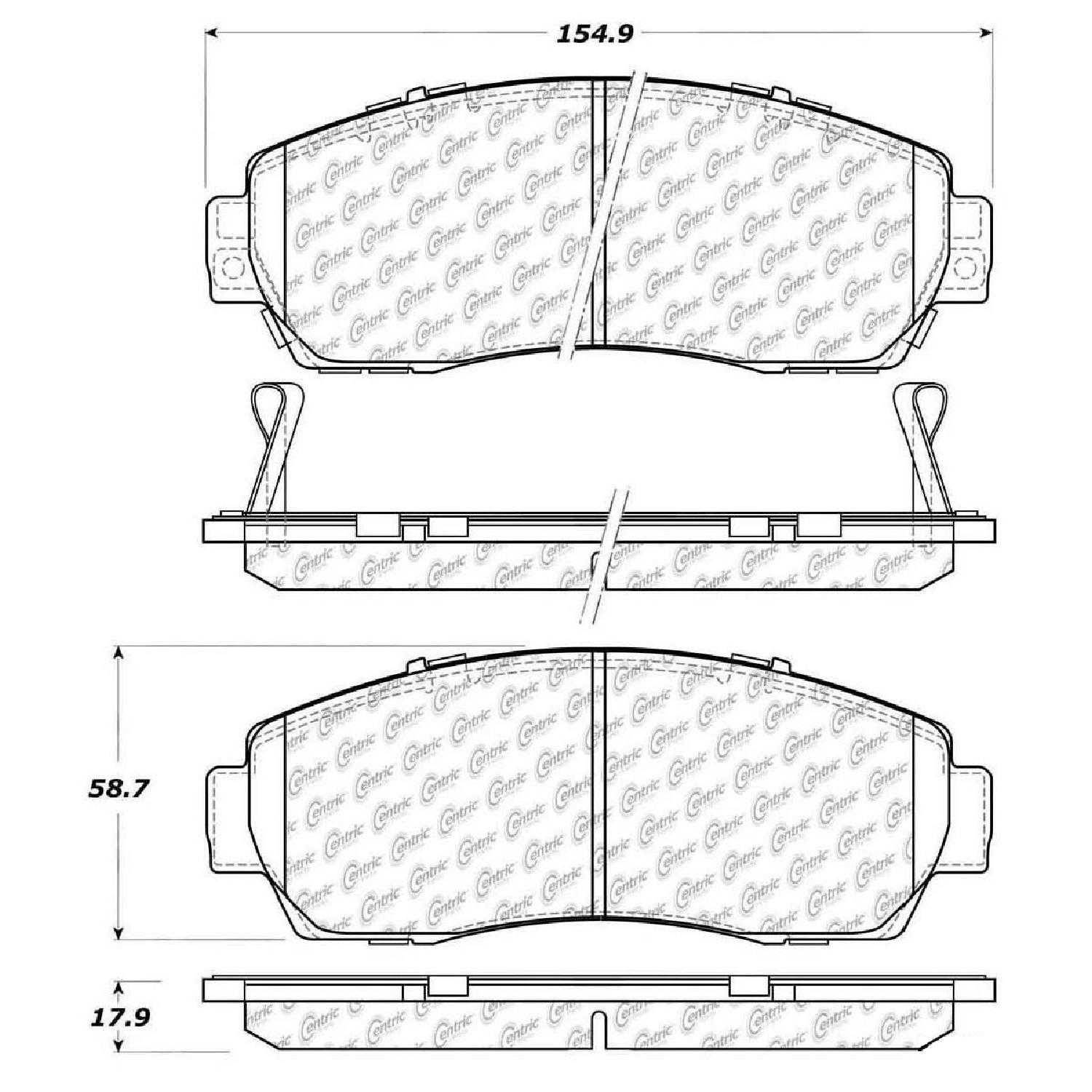Centric Parts Brake Pads Front Rear For 10-11 Honda Accord