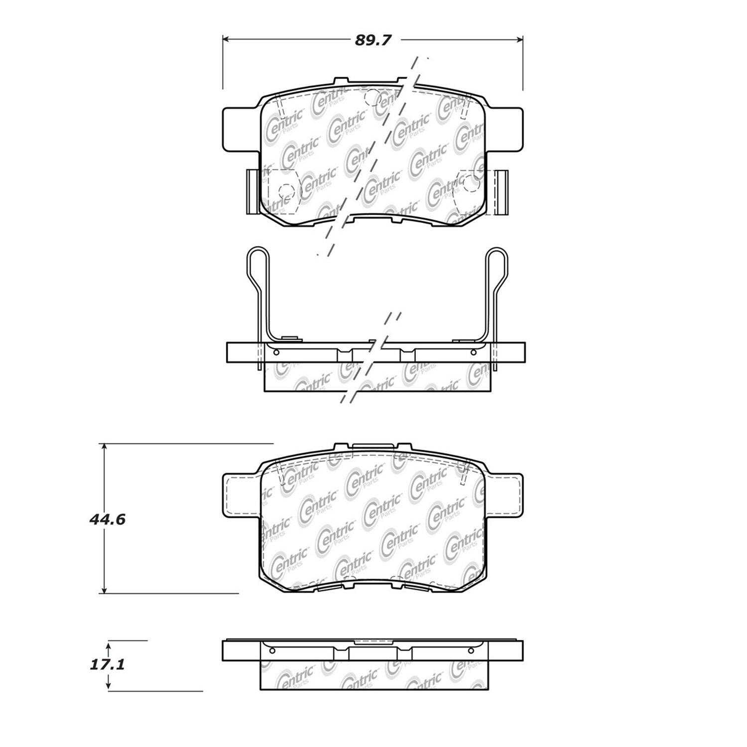 Centric Parts Brake Pads Front Rear For 2012-2014 Acura