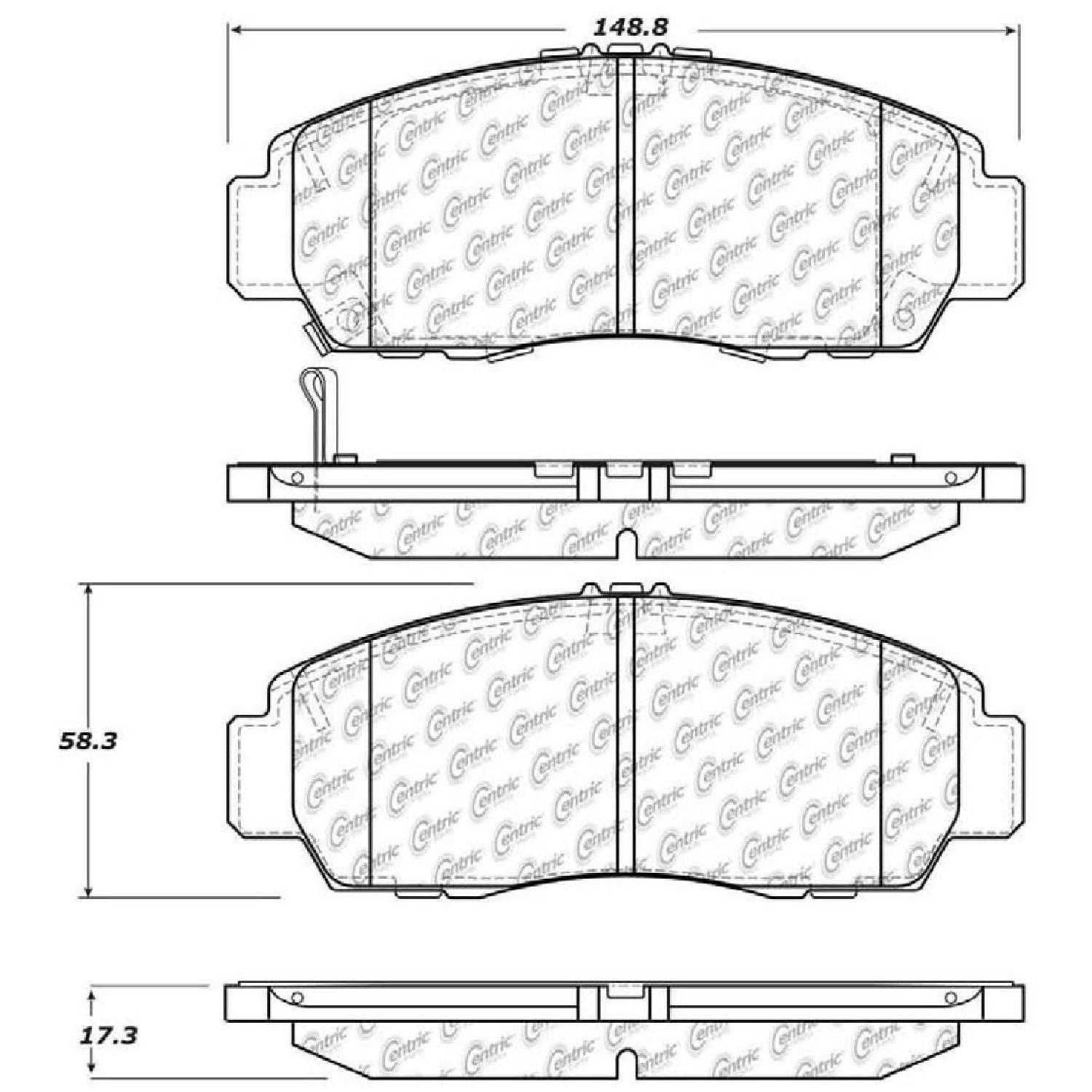 Centric Parts Brake Pads Front Rear For 12-14 Acura TSX