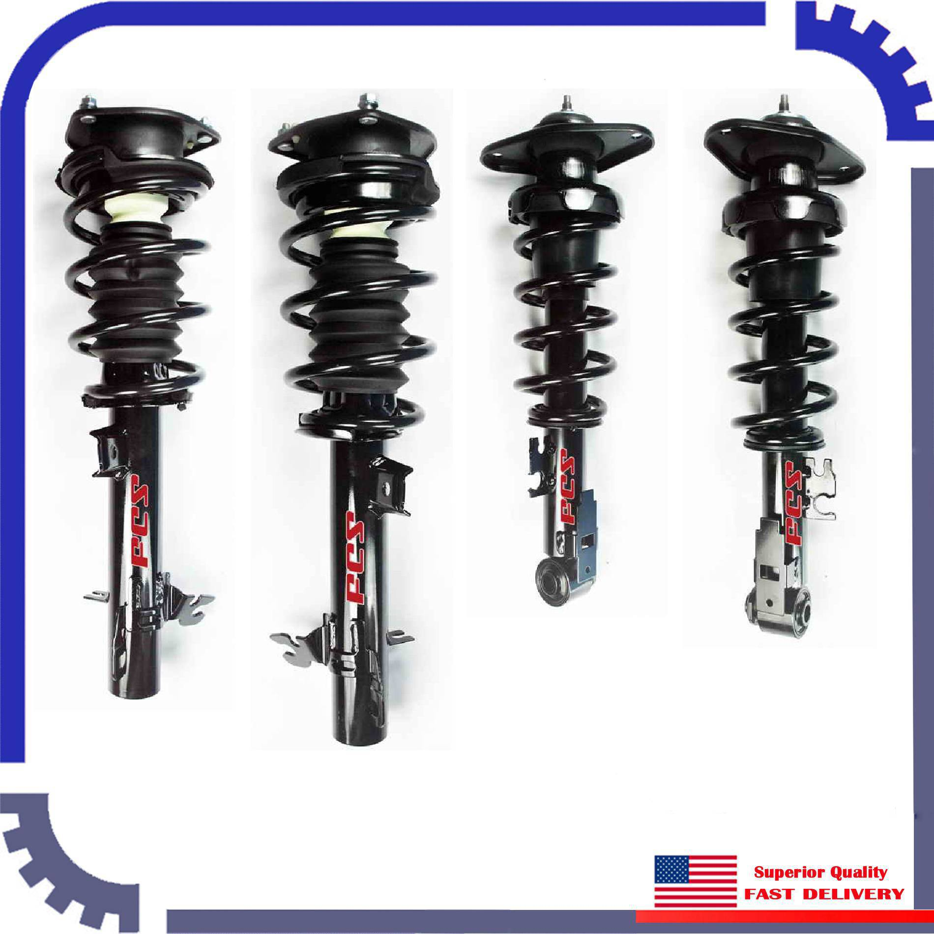 FCS Front and Rear Strut Coil Spring Assemblies Kit For Mini Cooper R56 1.6L FWD