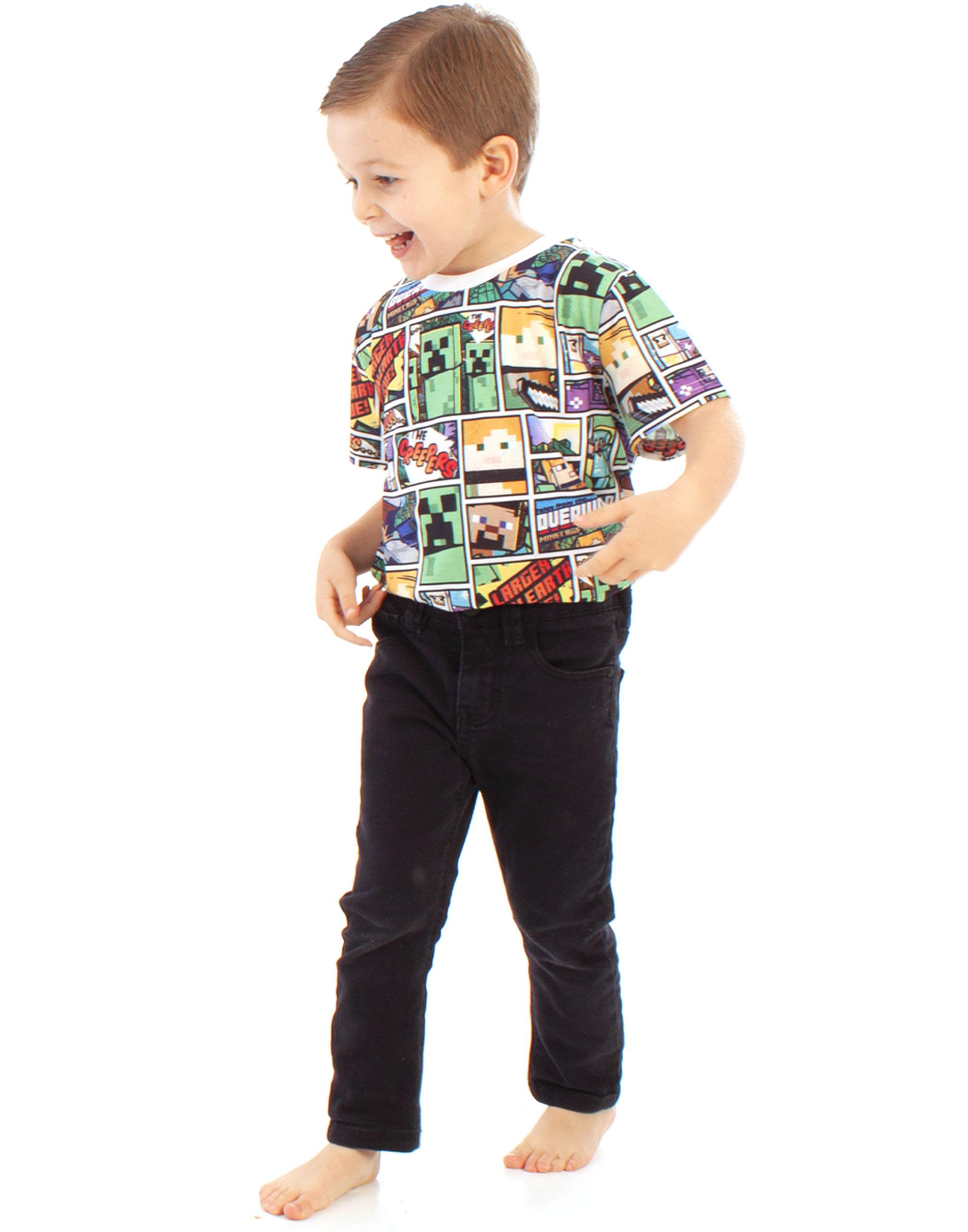 Minecraft-T-Shirt-Overworld-Steve-Creeper-Boy-039-s-Kids-Short-Sleeve-Shirt-Top thumbnail 10