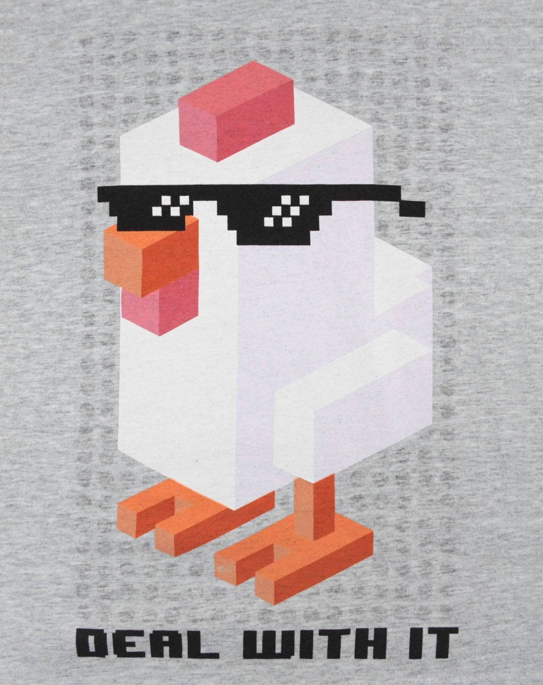 Crossy-Road-Chicken-Deal-With-It-Grey-Boy-039-s-T-Shirt thumbnail 5