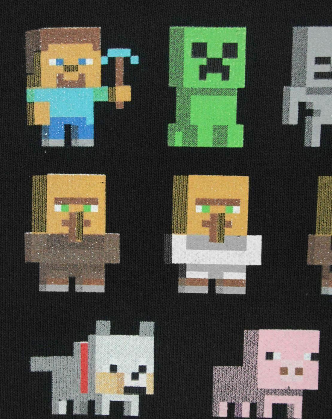 Minecraft-Sprites-Boys-Black-Sweatshirt-Kids-Black-Sweater thumbnail 8