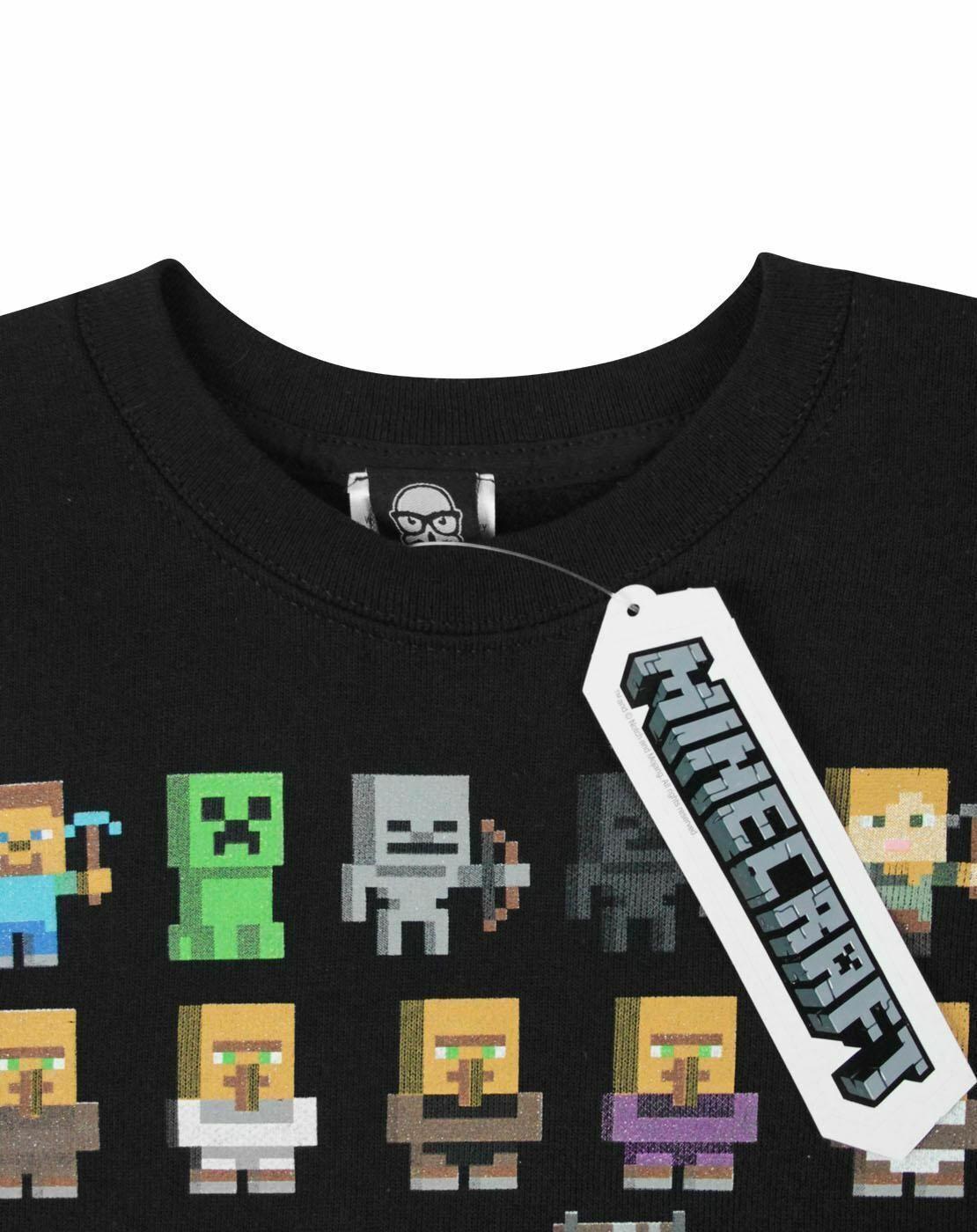Minecraft-Sprites-Boys-Black-Sweatshirt-Kids-Black-Sweater thumbnail 9