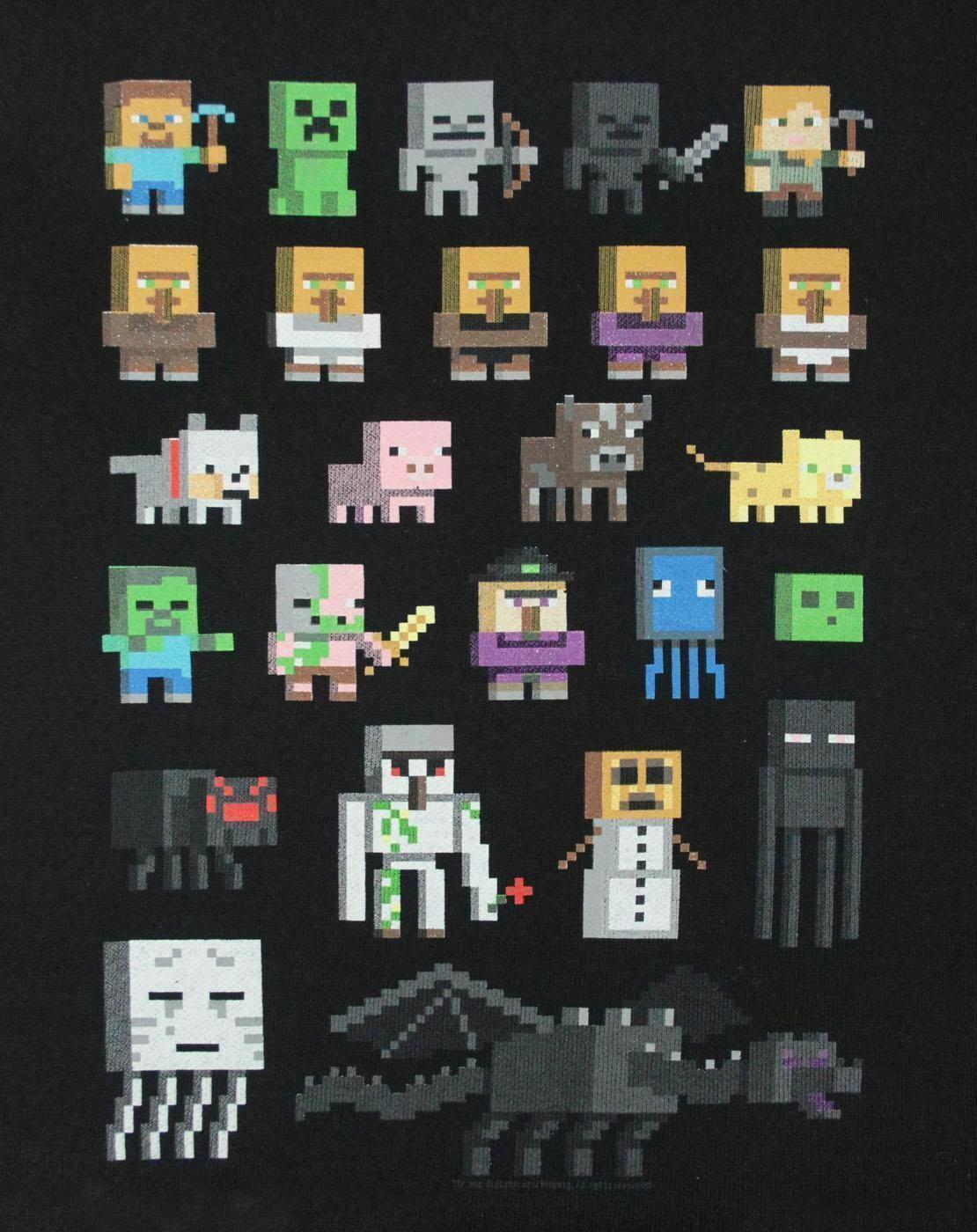 Minecraft-Sprites-Boys-Black-Sweatshirt-Kids-Black-Sweater thumbnail 7