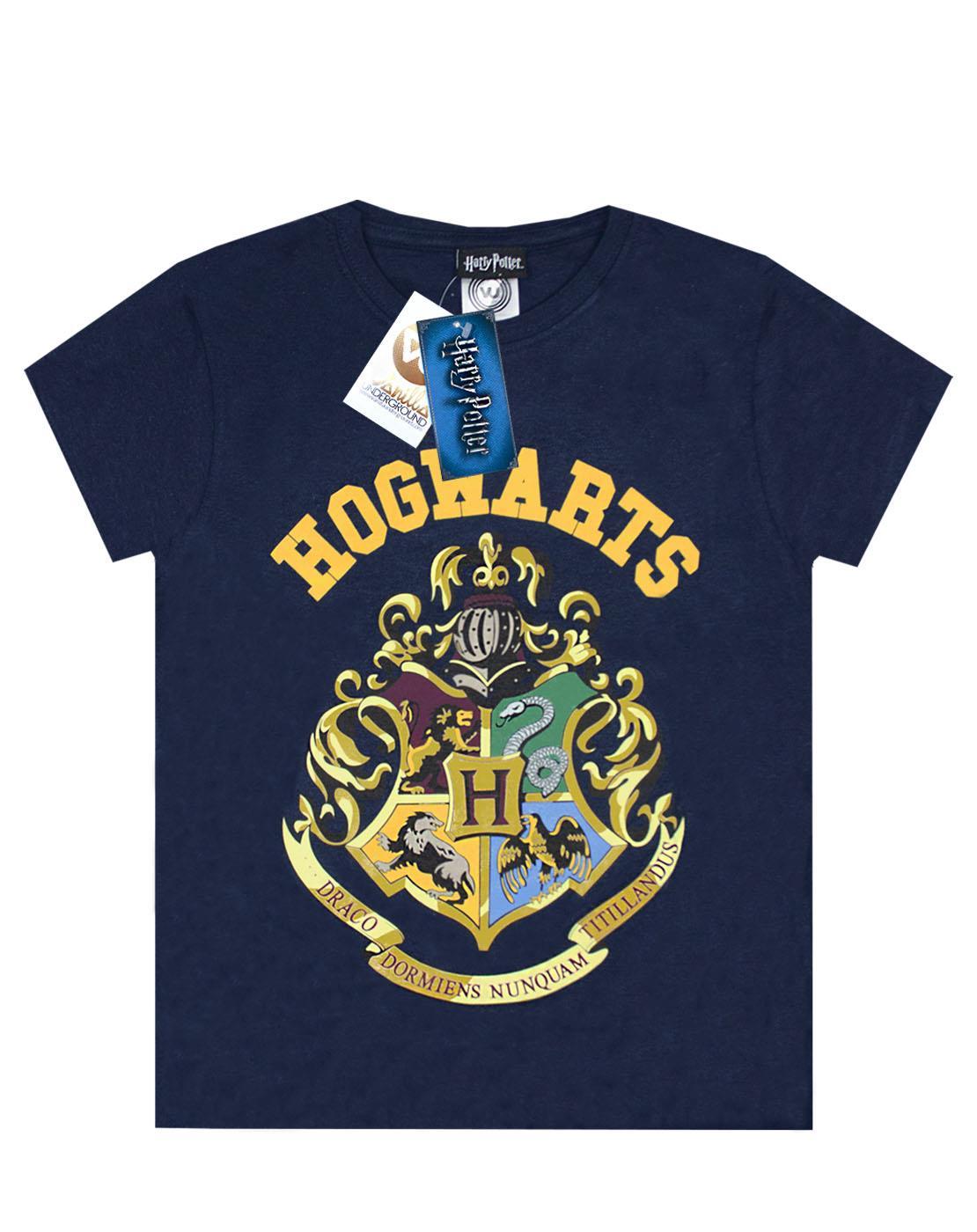 Harry-Potter-Hogwarts-Crest-Boy-039-s-Short-Sleeve-T-Shirt-in-Navy thumbnail 7