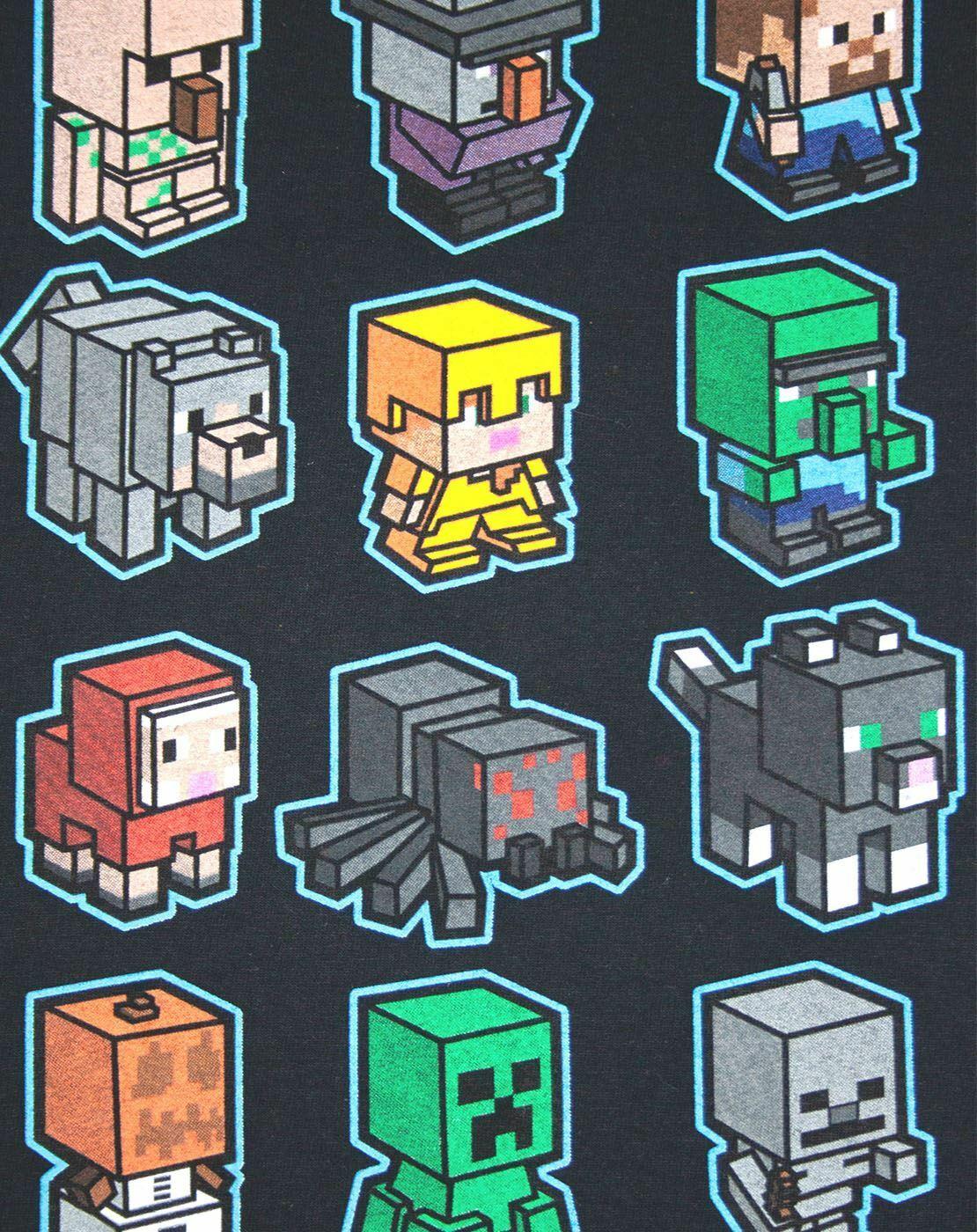 Minecraft Mini Mob Boys Black T-Shirt Kids Gamer Official tee