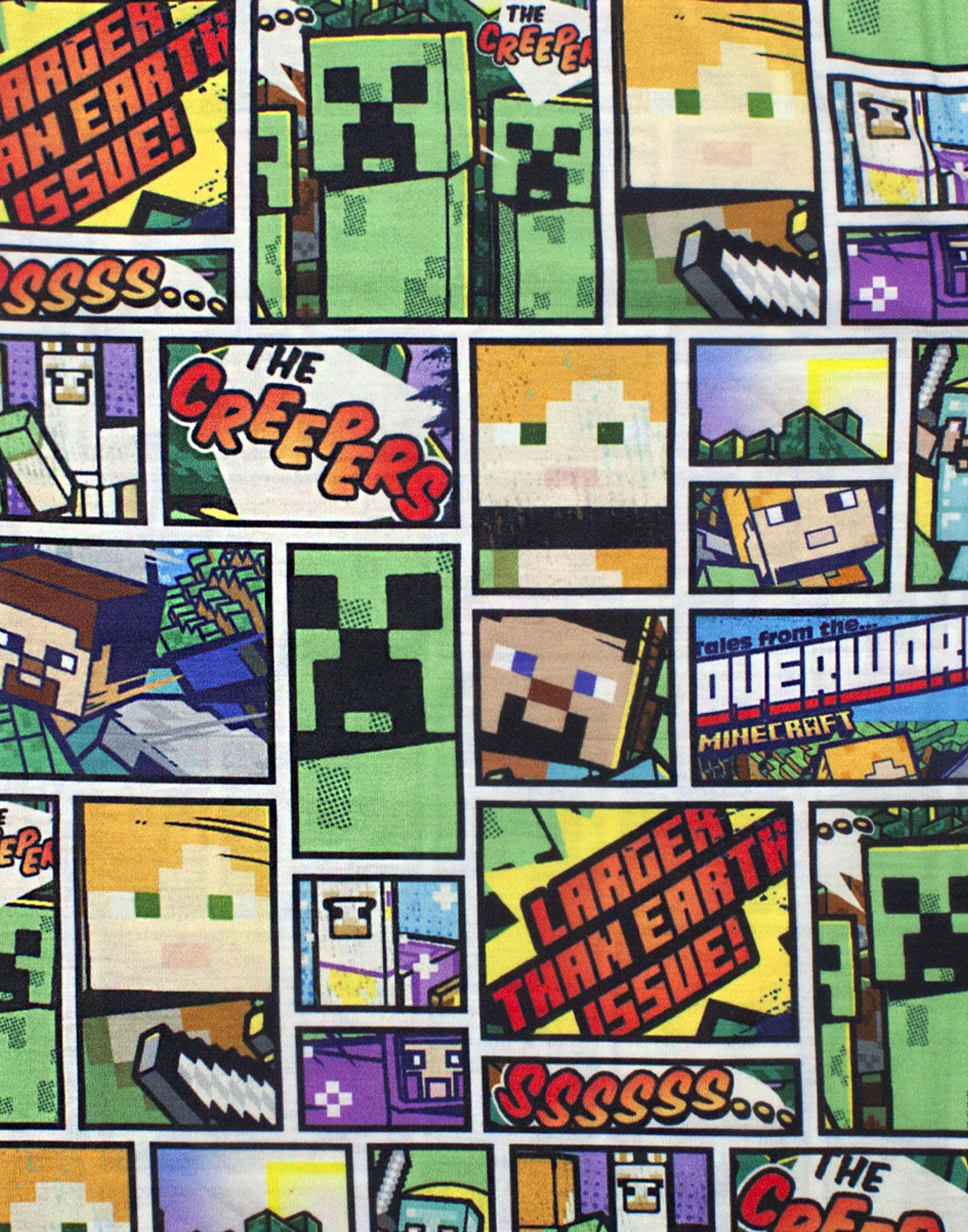 Minecraft-T-Shirt-Overworld-Steve-Creeper-Boy-039-s-Kids-Short-Sleeve-Shirt-Top thumbnail 12
