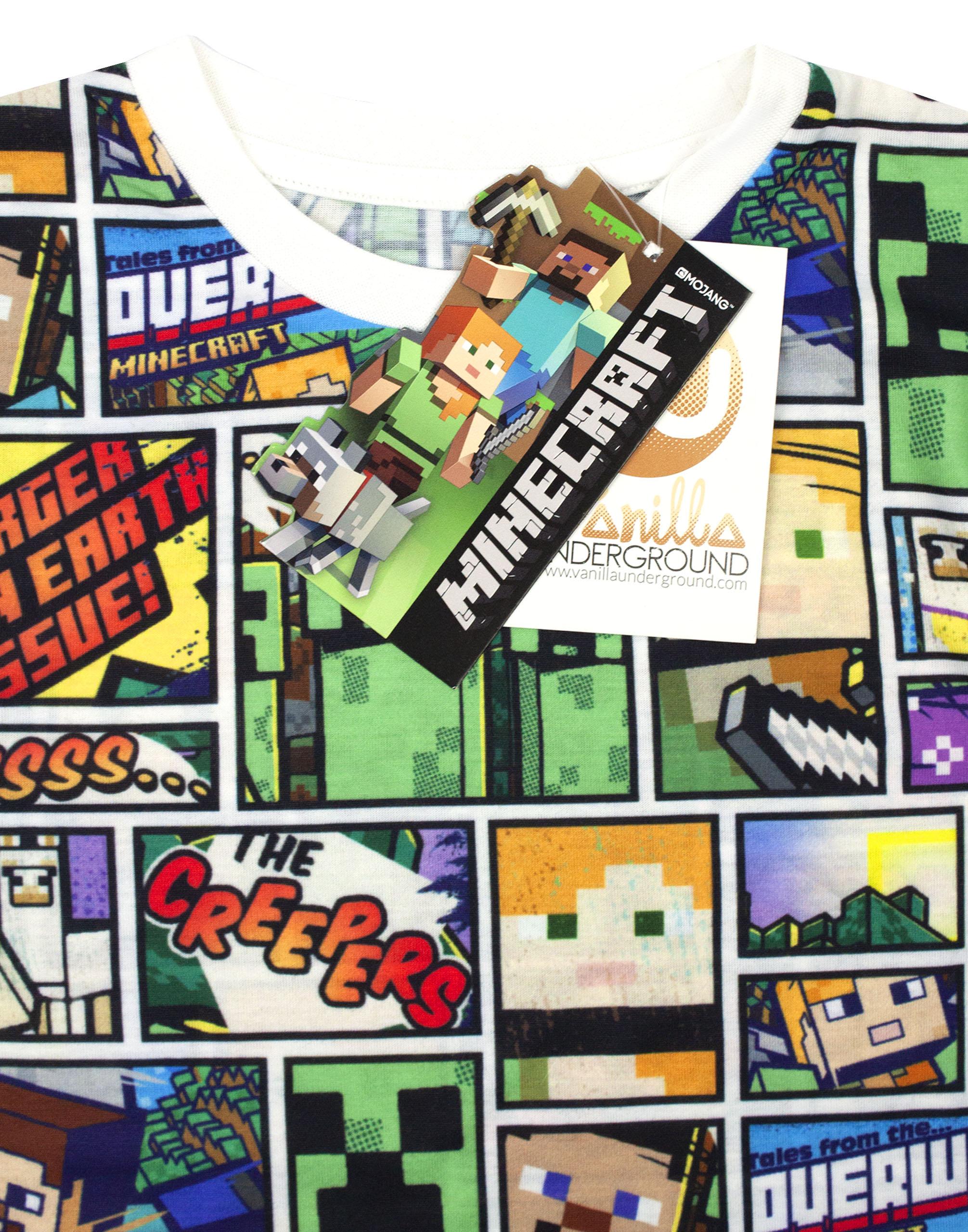 Minecraft-T-Shirt-Overworld-Steve-Creeper-Boy-039-s-Kids-Short-Sleeve-Shirt-Top thumbnail 13