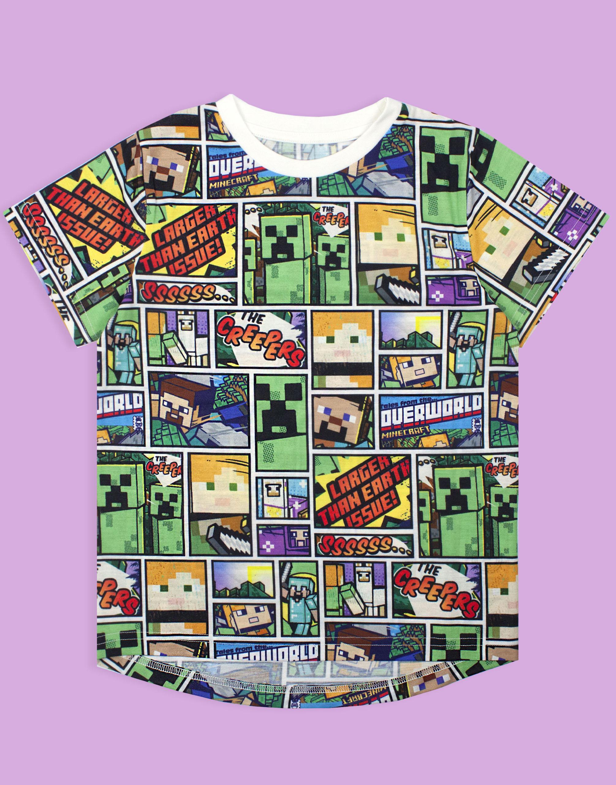 Minecraft-T-Shirt-Overworld-Steve-Creeper-Boy-039-s-Kids-Short-Sleeve-Shirt-Top thumbnail 9
