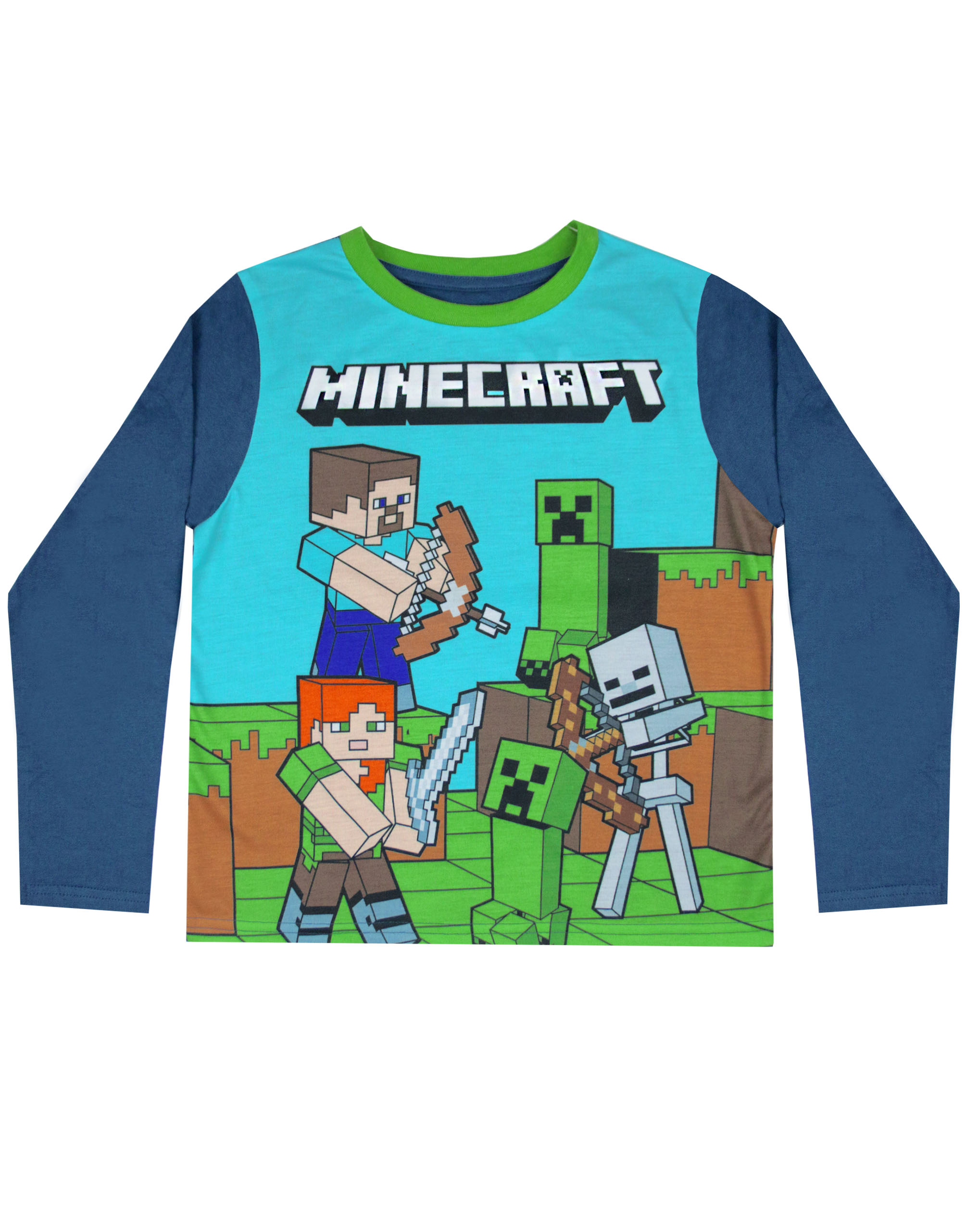 Minecraft Steve And Creeper Long Sleeve Boy S Blue Pyjama Set Kids