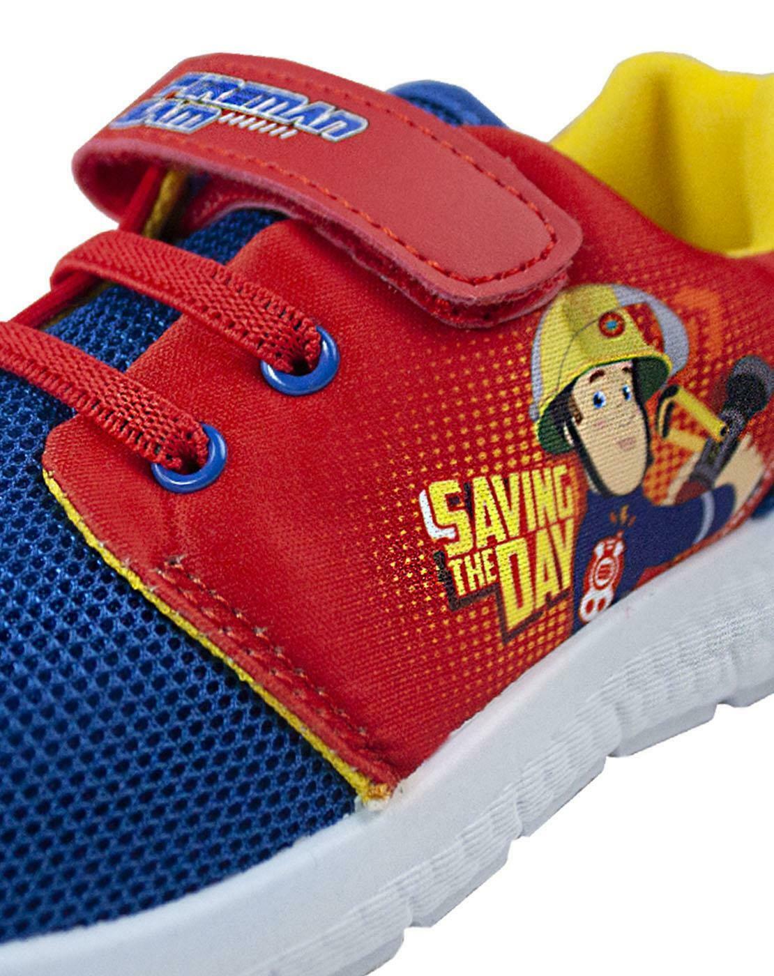Boys Fireman Sam Flames Blue Trainers Shoe Sizes 4-10