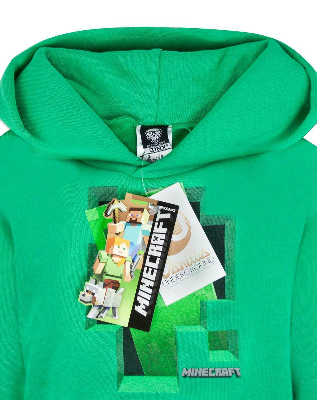 Minecraft-Green-Creeper-Boys-Hoodie-Kids-Long-Sleeve-Hooded-Sweater thumbnail 9