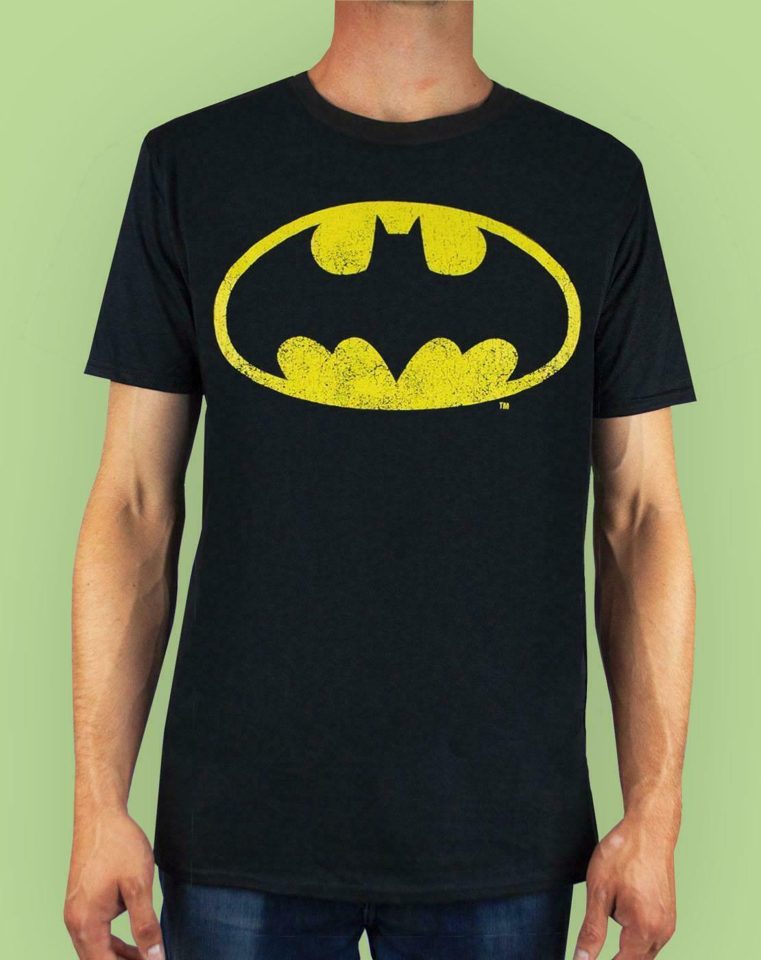 Batman-Distressed-Logo-Men-039-s-Adults-Black-T-Shirt-Top thumbnail 9