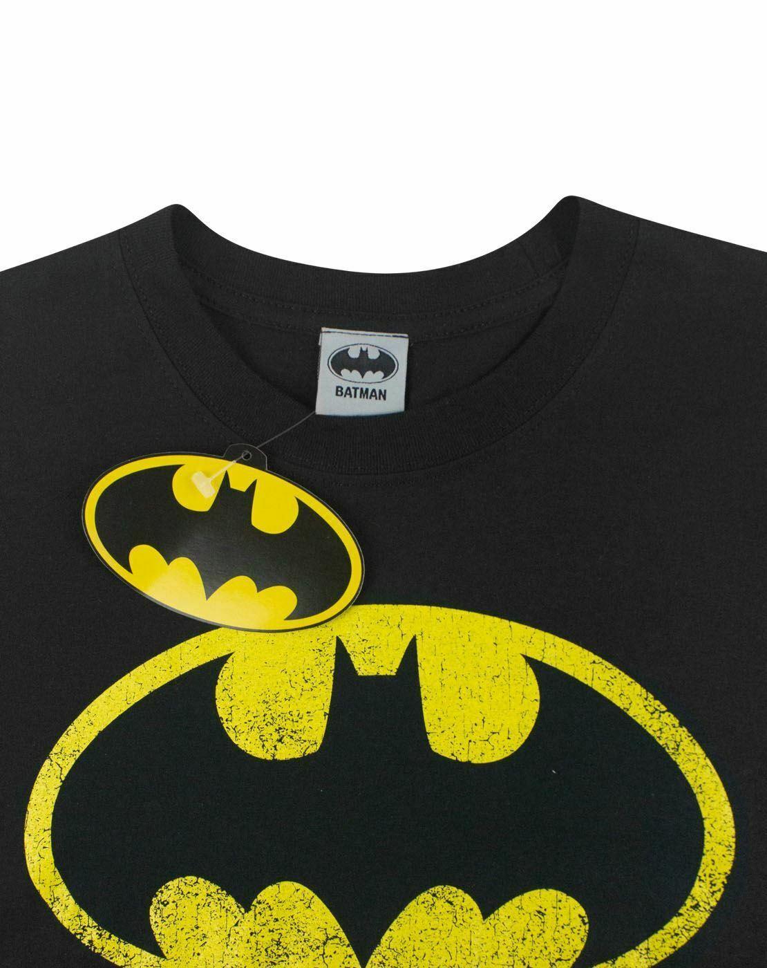 Batman-Distressed-Logo-Men-039-s-Adults-Black-T-Shirt-Top thumbnail 13