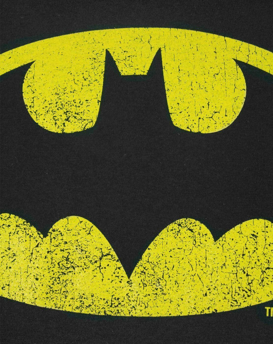 Batman-Distressed-Logo-Men-039-s-Adults-Black-T-Shirt-Top thumbnail 12
