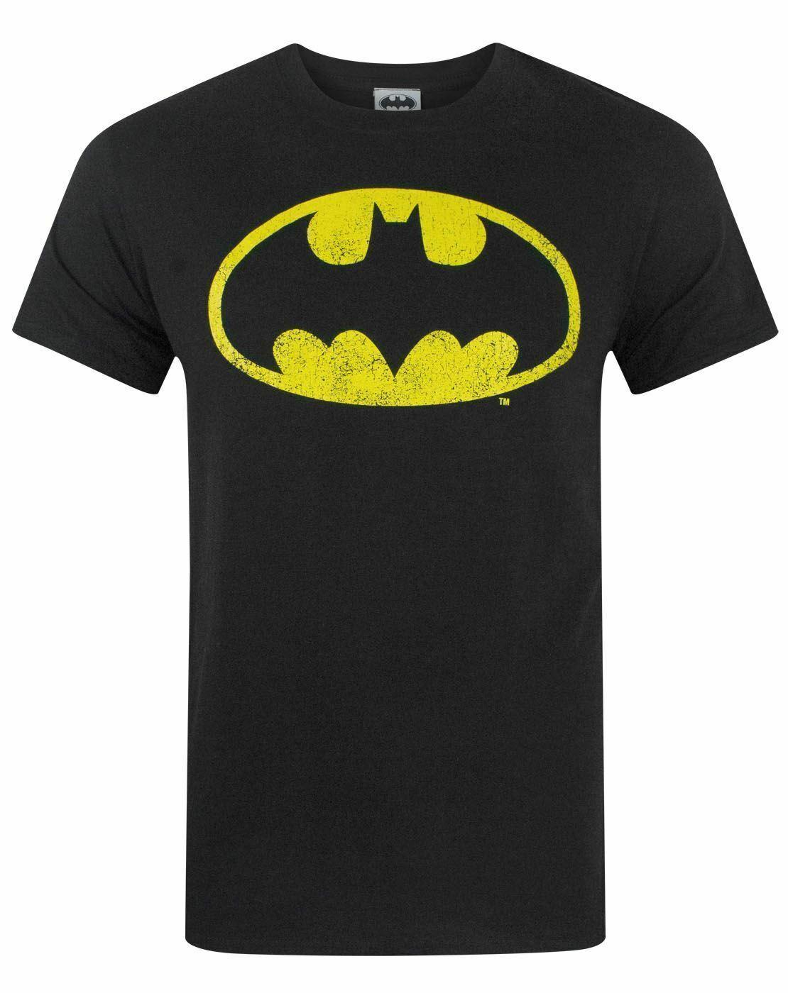 Batman-Distressed-Logo-Men-039-s-Adults-Black-T-Shirt-Top thumbnail 10