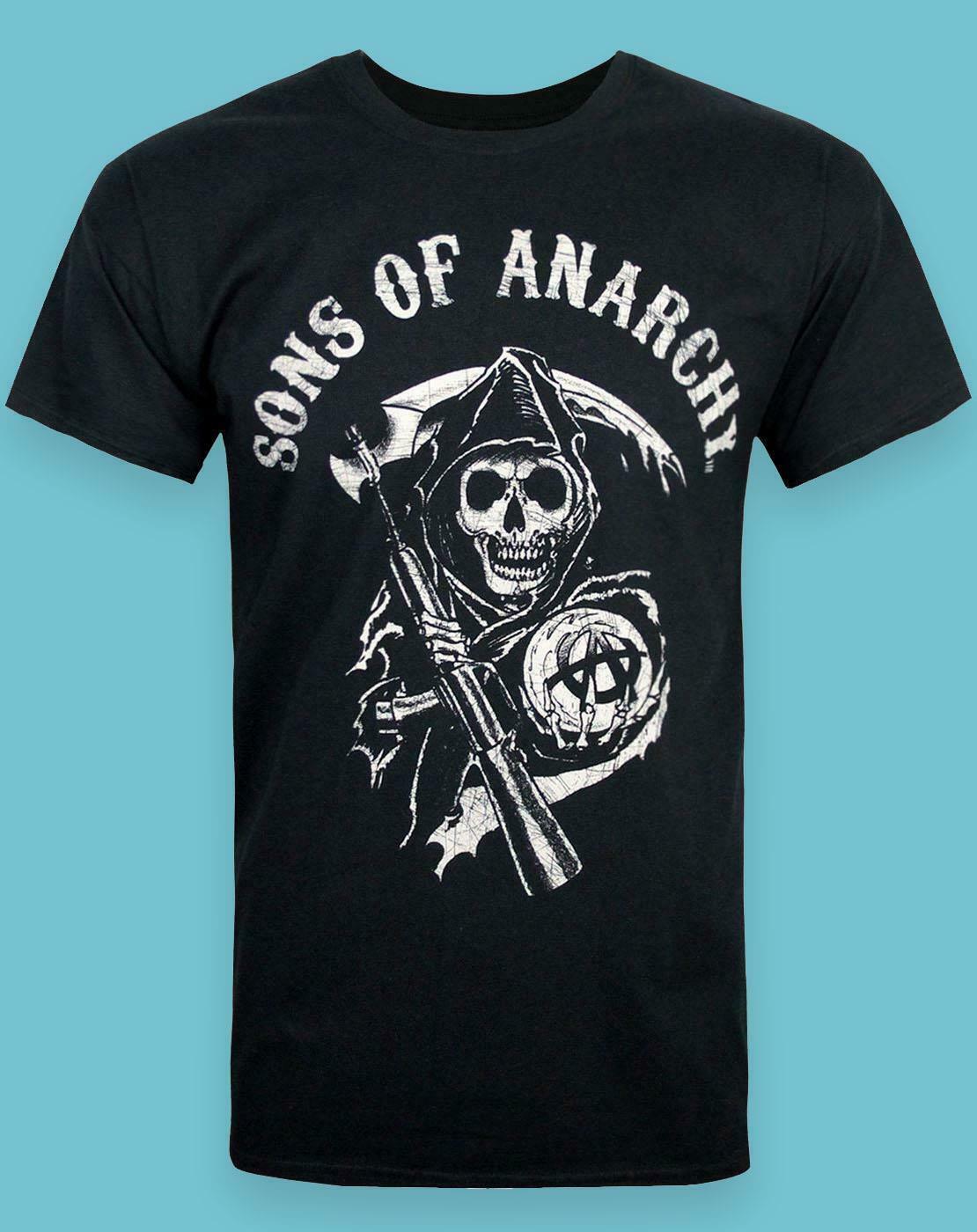 Sons of Anarchy Mens Tee Reaper Logo pour les s/éries coton noir
