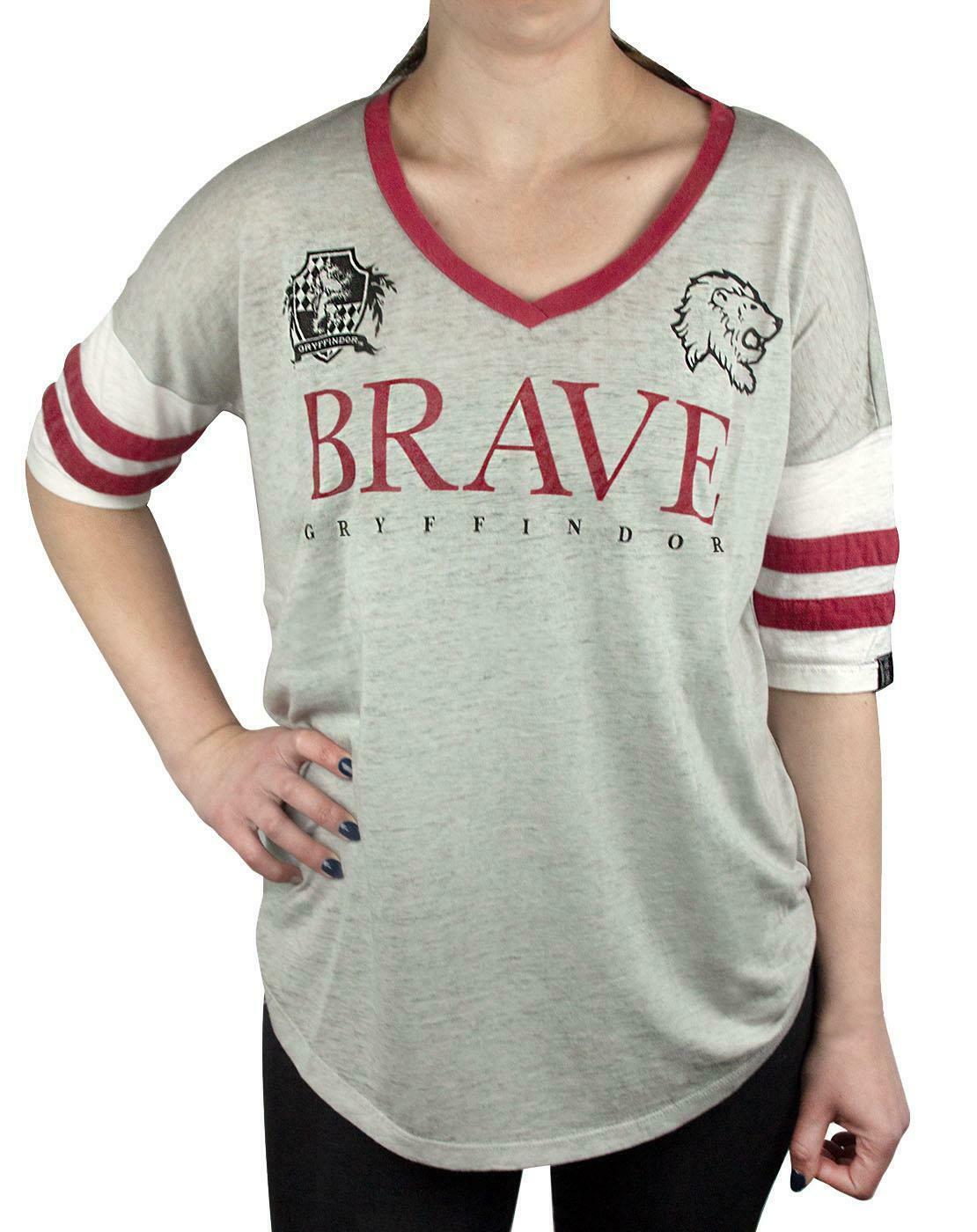 Harry-Potter-Hogwarts-House-Crests-Varsity-Women-039-s-T-Shirt-Gryfinndor thumbnail 16