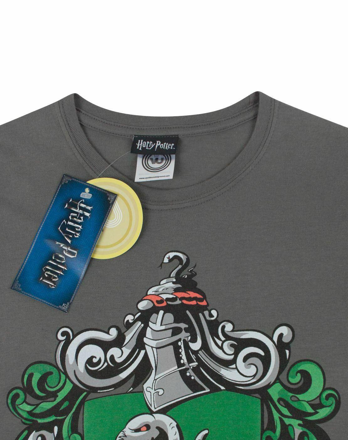 Harry-Potter-Slytherin-Women-039-s-Crew-Neck-Charcoal-T-Shirt thumbnail 9