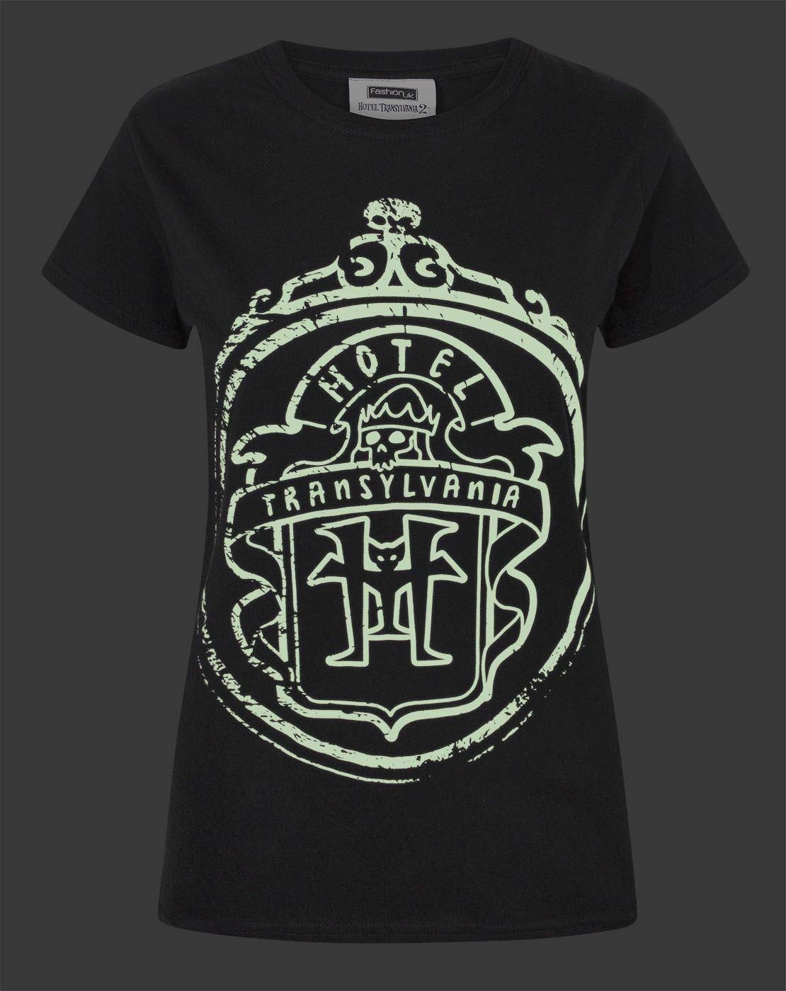 thumbnail 7 - Hotel-Transylvania-Logo-Glow-In-The-Dark-Women-039-s-T-Shirt