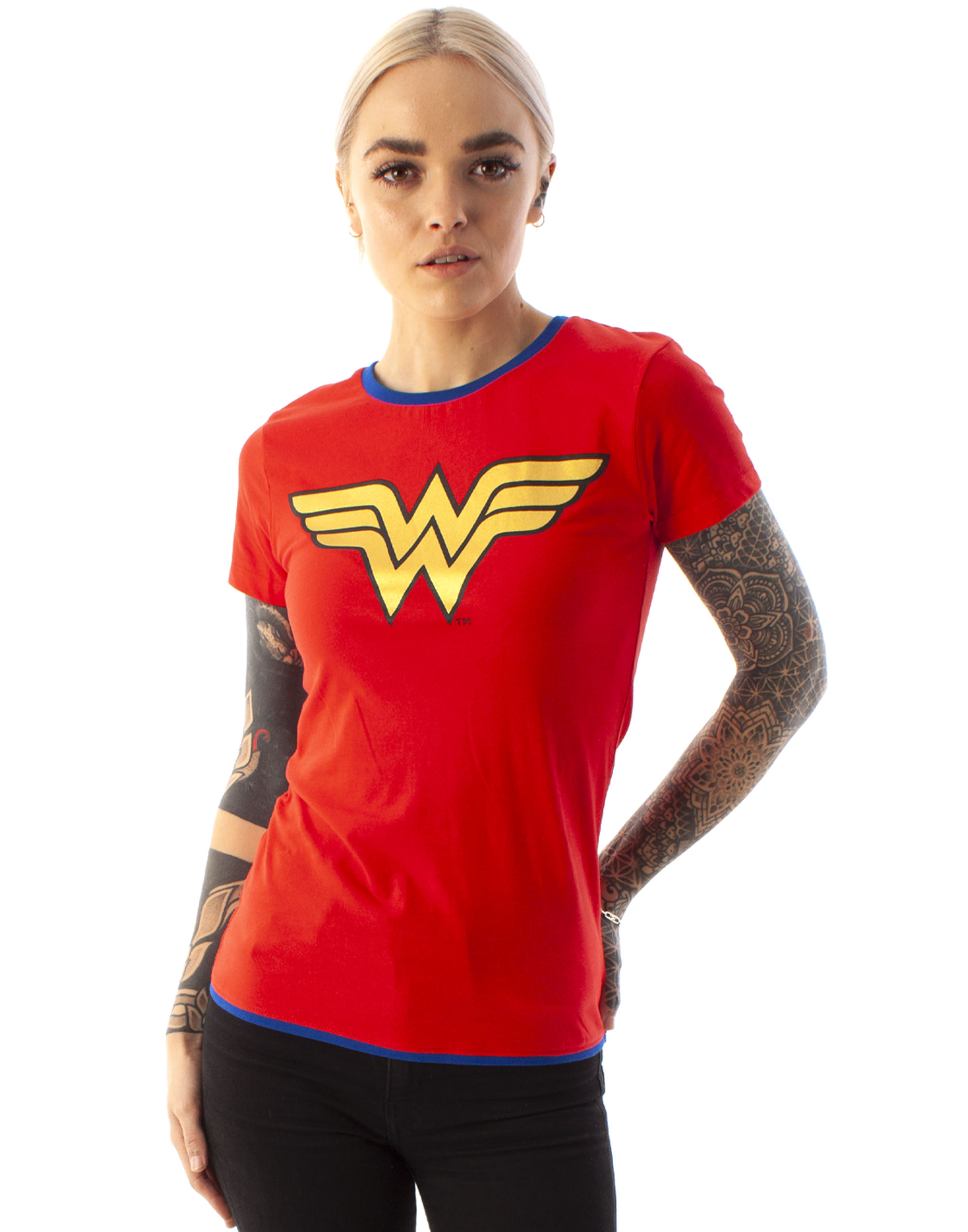 Wonder-Woman-DC-Comics-Metallic-Gold-Logo-Women-039-s-Red-Superhero-T-Shirt thumbnail 9